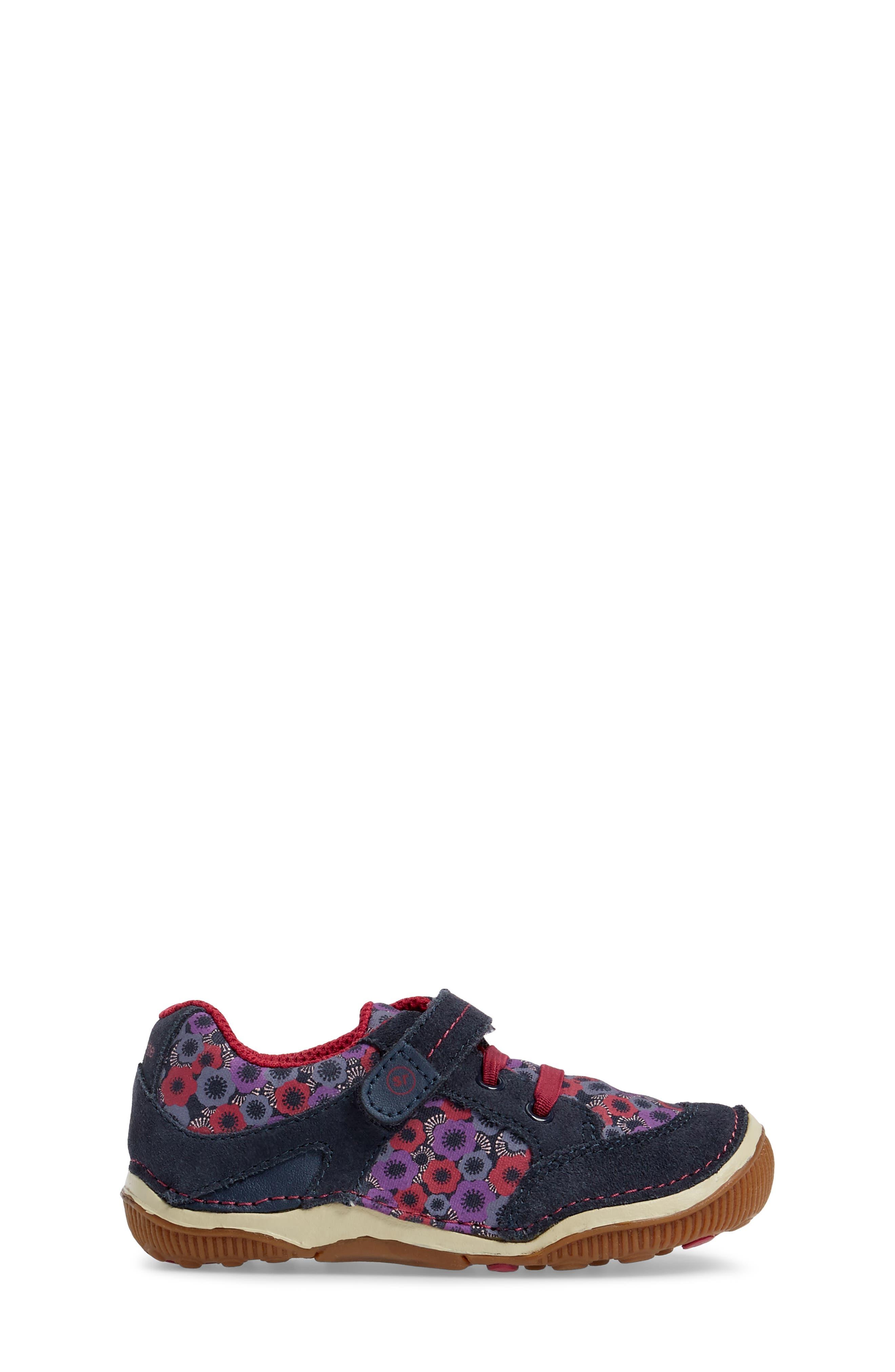 Armorie Flower Print Sneaker,                             Alternate thumbnail 3, color,                             Navy