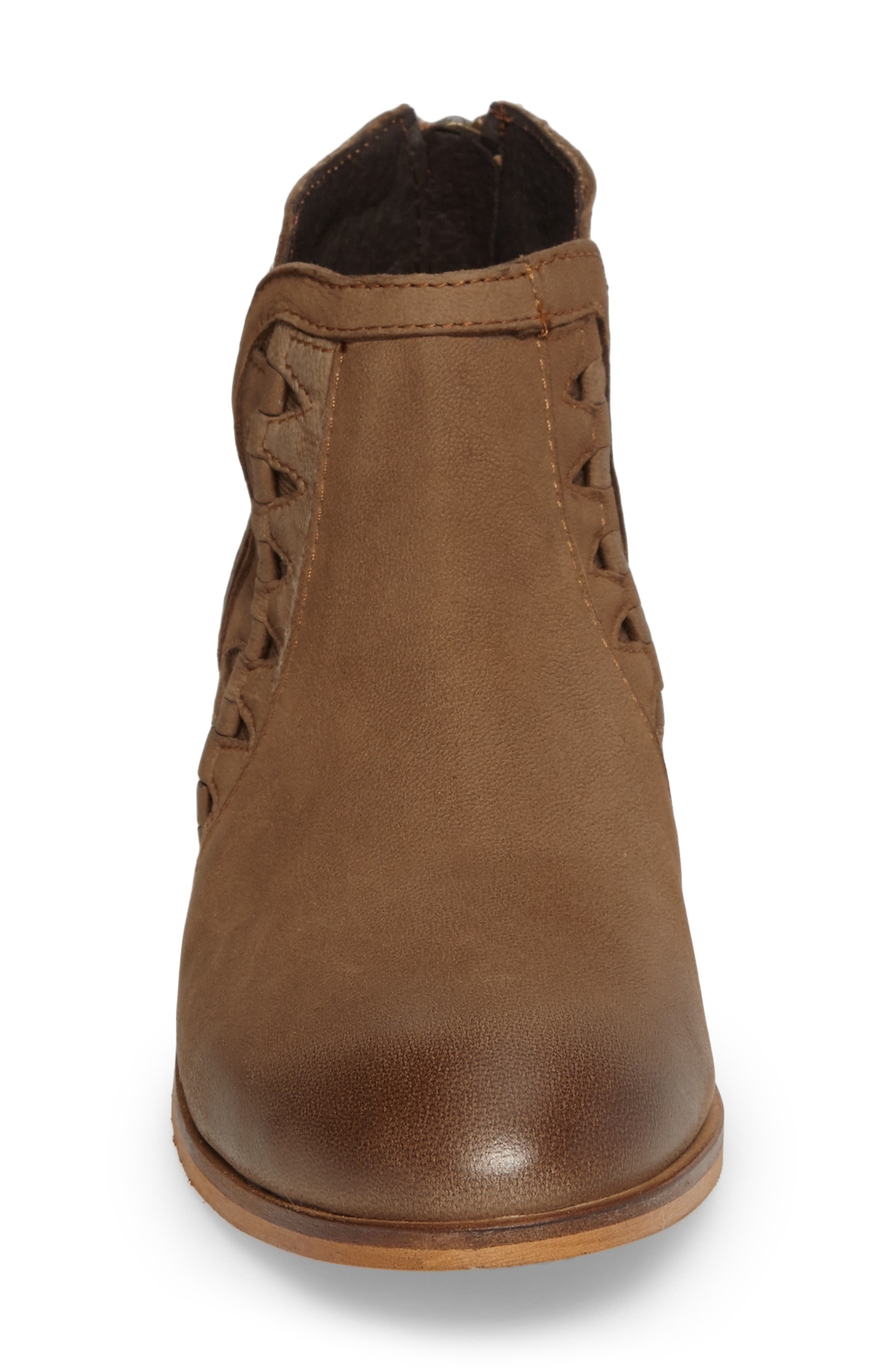 Yuma Bootie,                             Alternate thumbnail 4, color,                             Cognac Washed Nubuck Leather