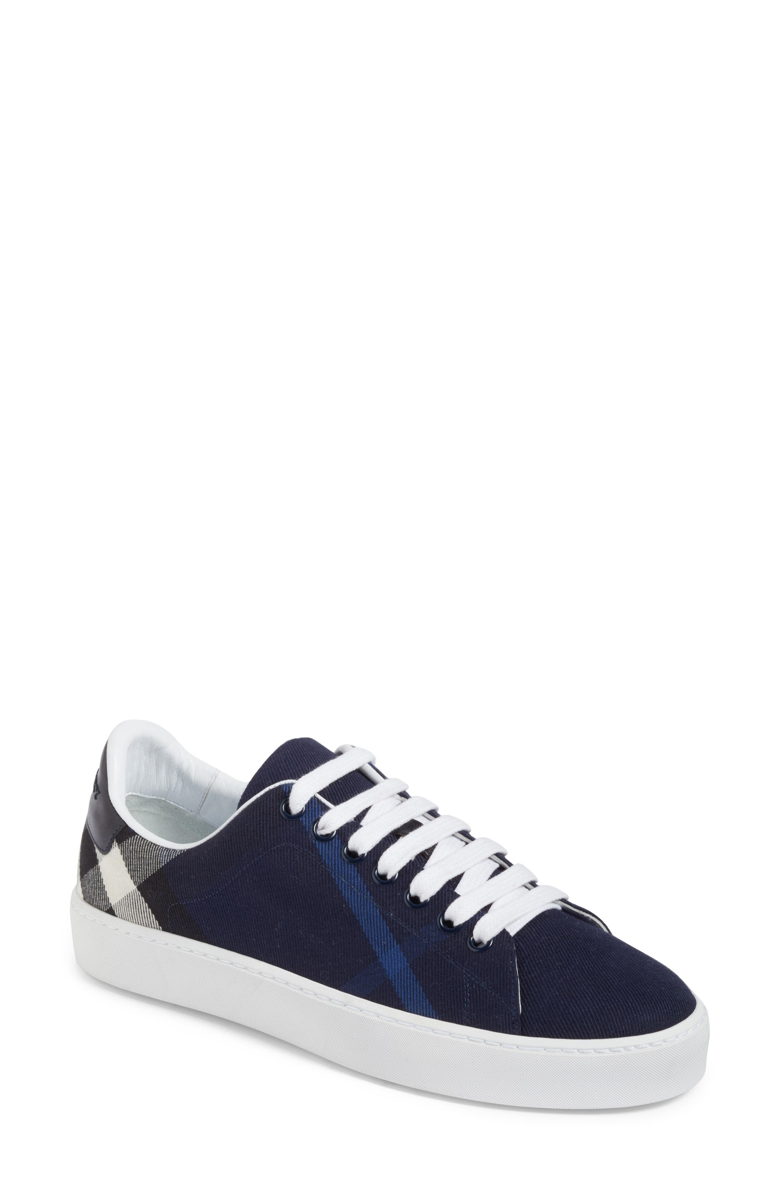 Burberry Check Canvas Lace-Up Sneaker (Women)