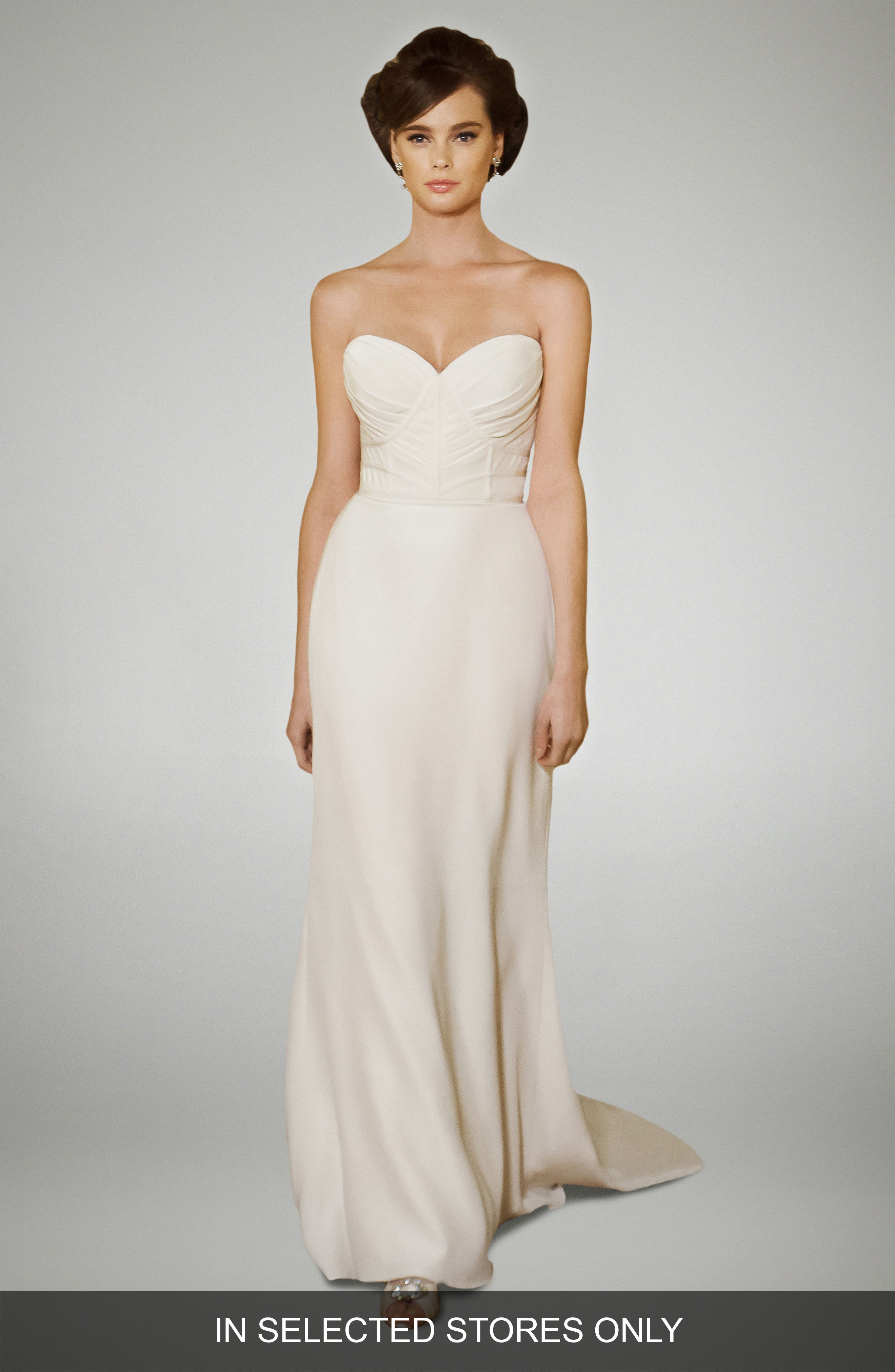 Selma Crepe Column Gown,                         Main,                         color, Off White