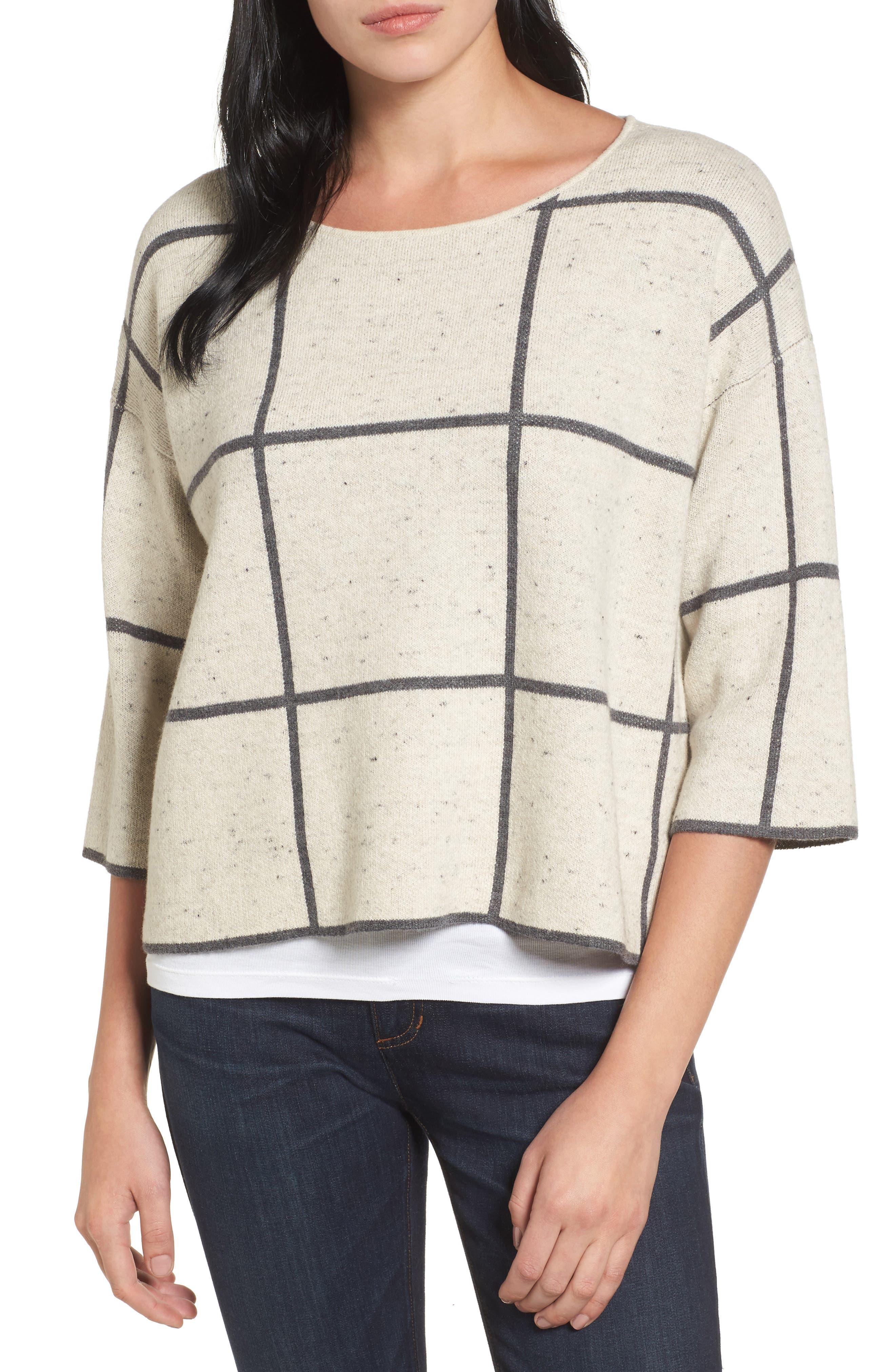 Windowpane Check Boxy Sweater,                         Main,                         color, Maple Oat
