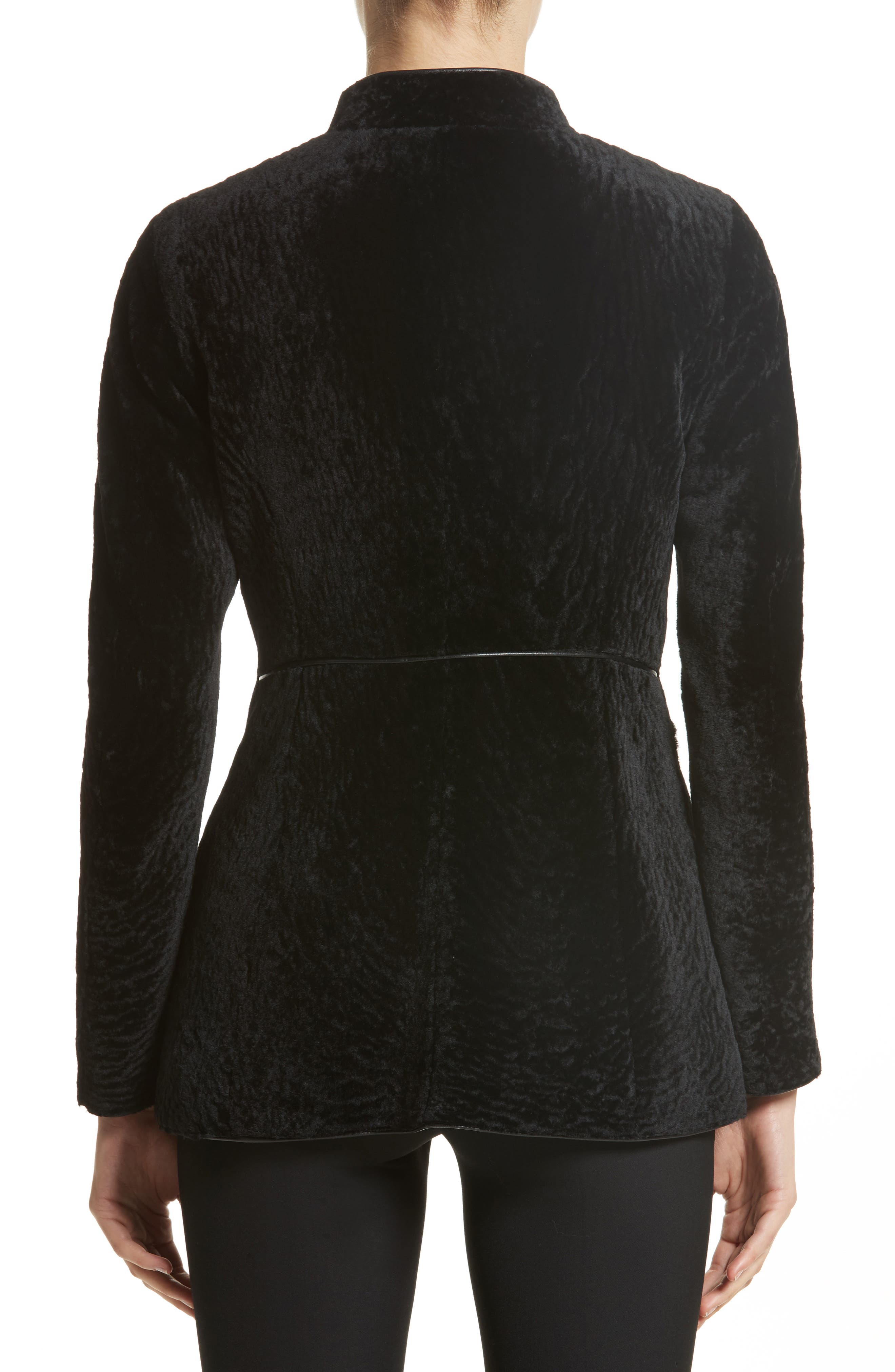 Genuine Shearling Jacket,                             Alternate thumbnail 2, color,                             Black