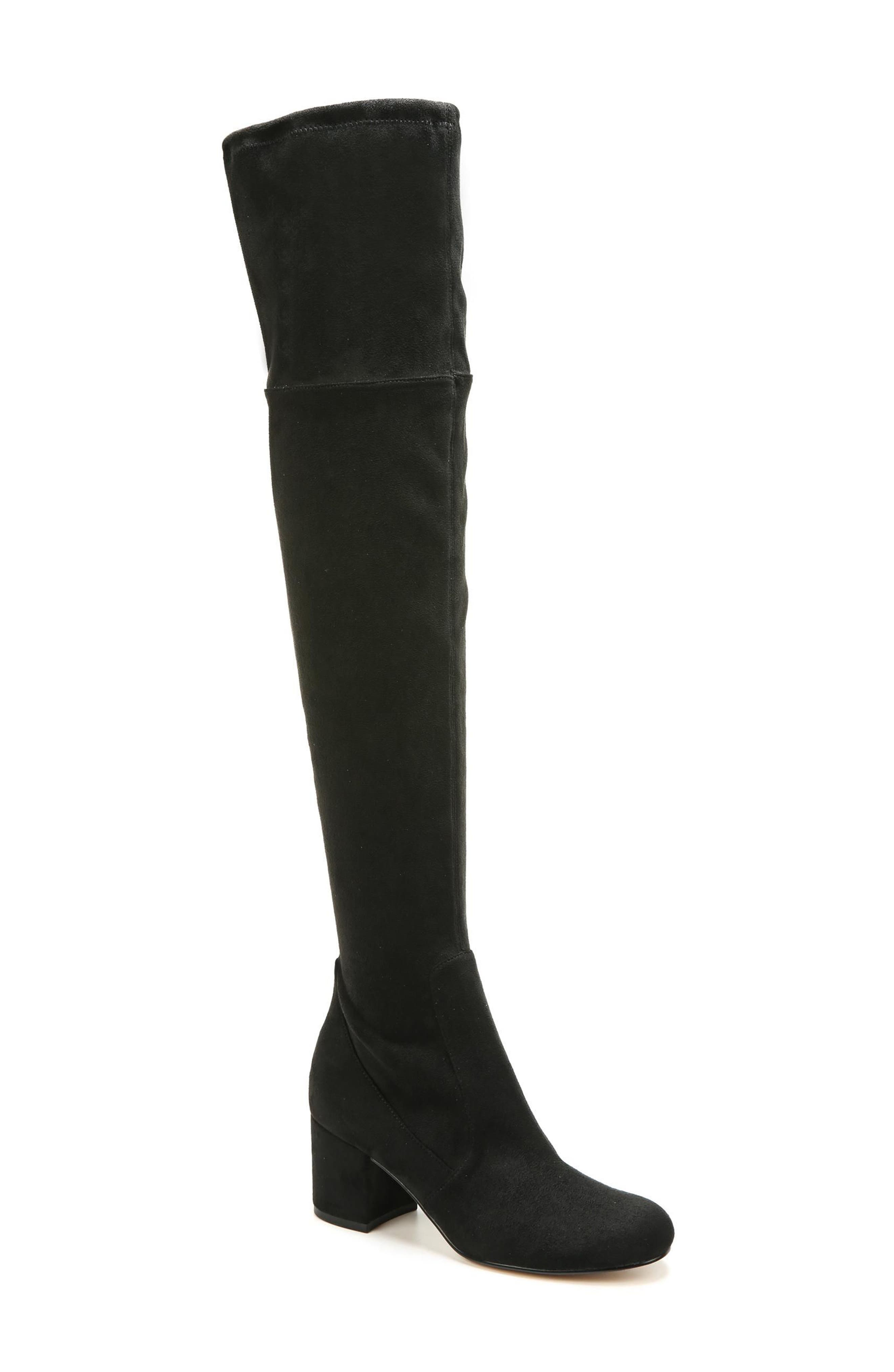 Varona Over the Knee Boot,                         Main,                         color, Black Stretch Fabric