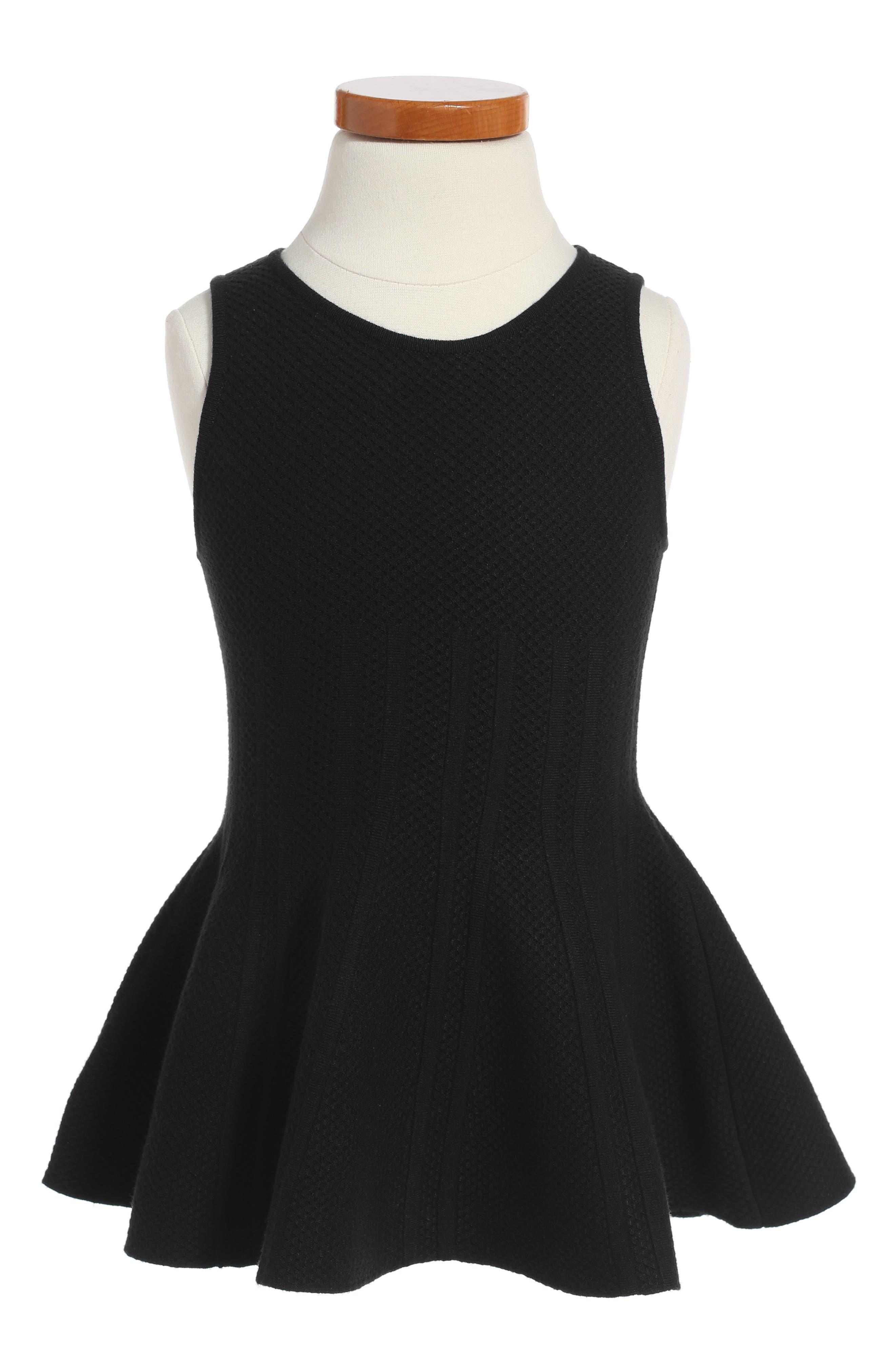 Peplum Hem Dress,                             Main thumbnail 1, color,                             Black