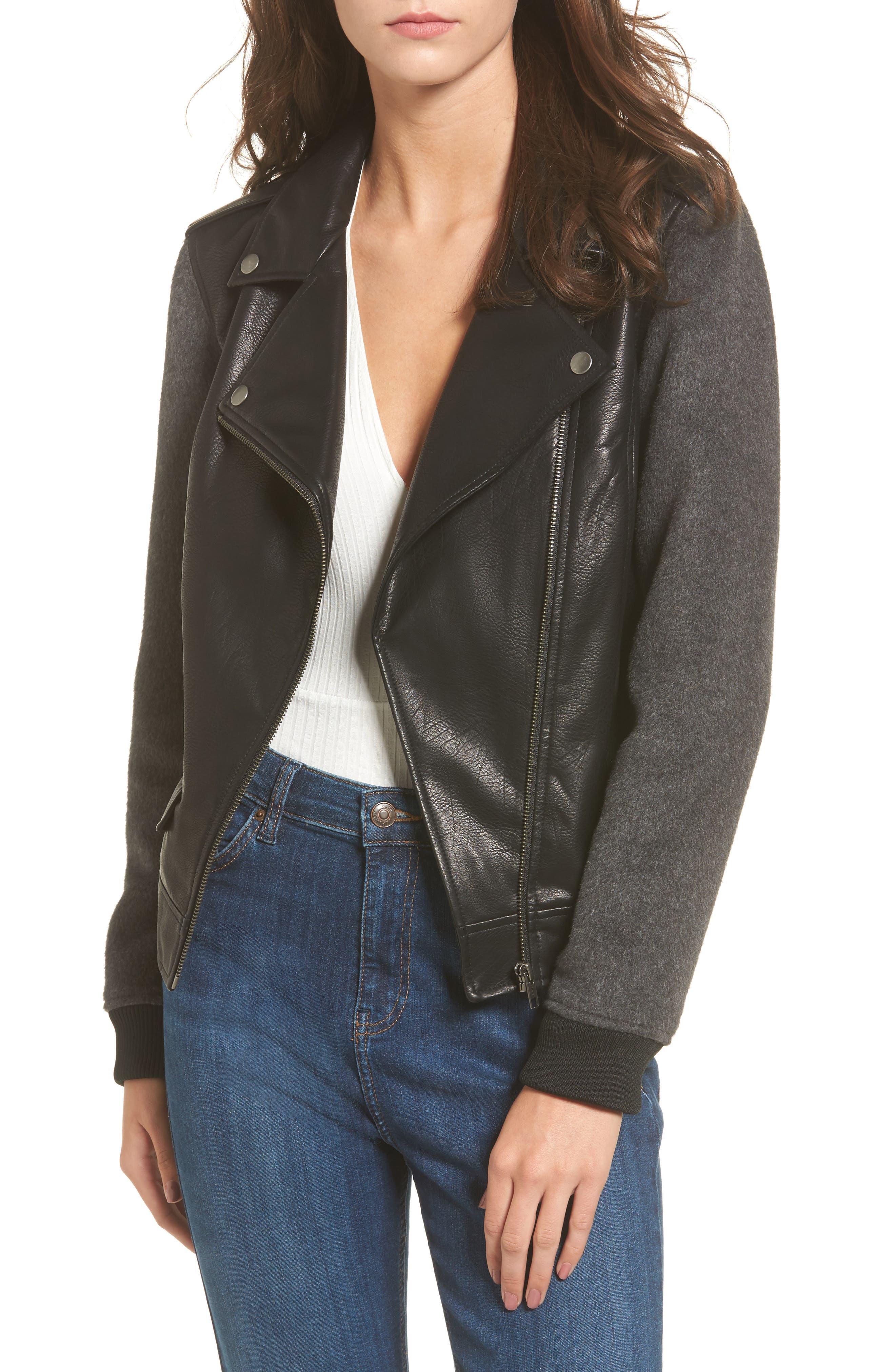 BP. Faux Leather Varsity Moto Jacket