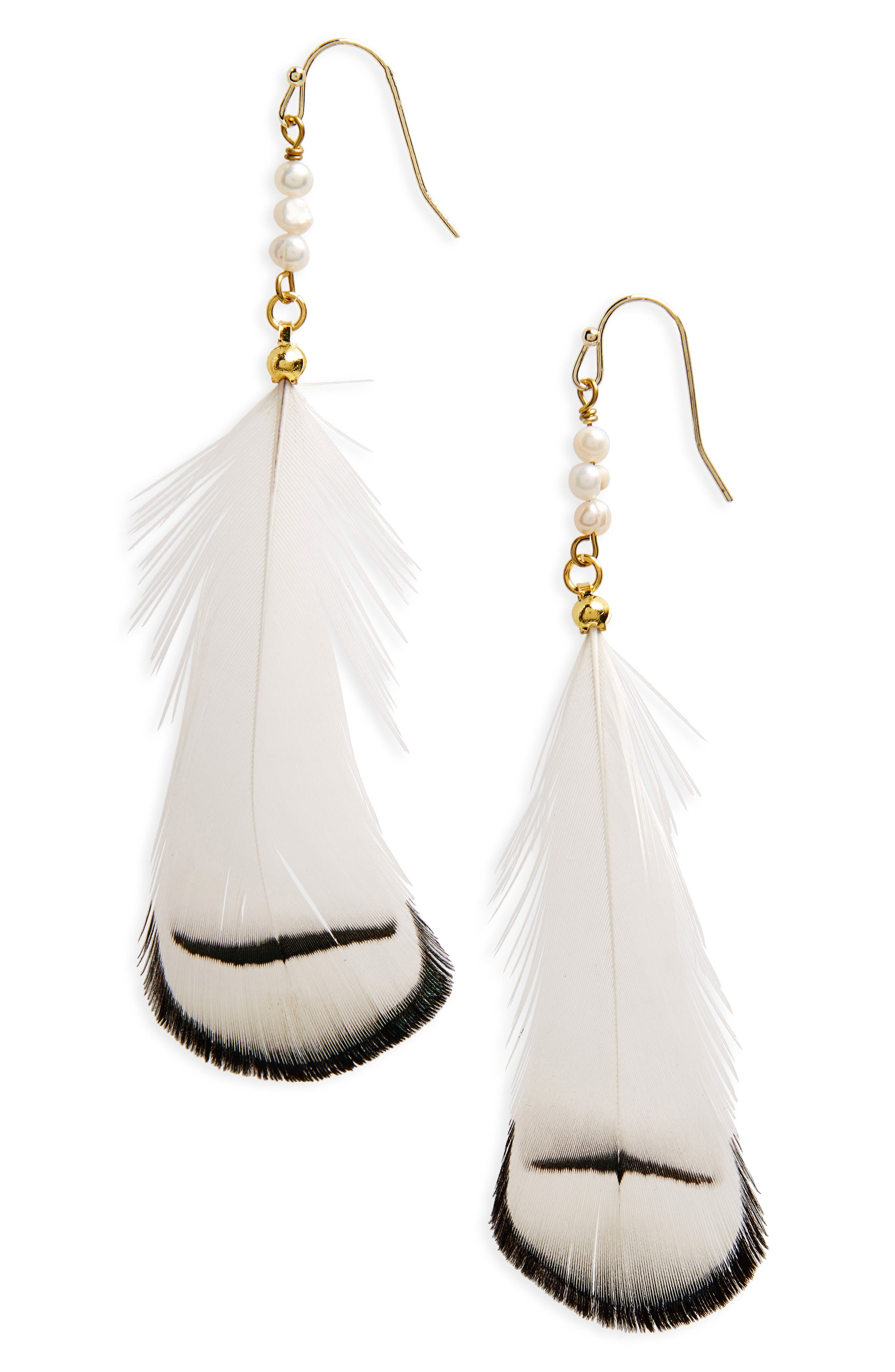 Feather & Pearl Earrings,                         Main,                         color, White/ Multi