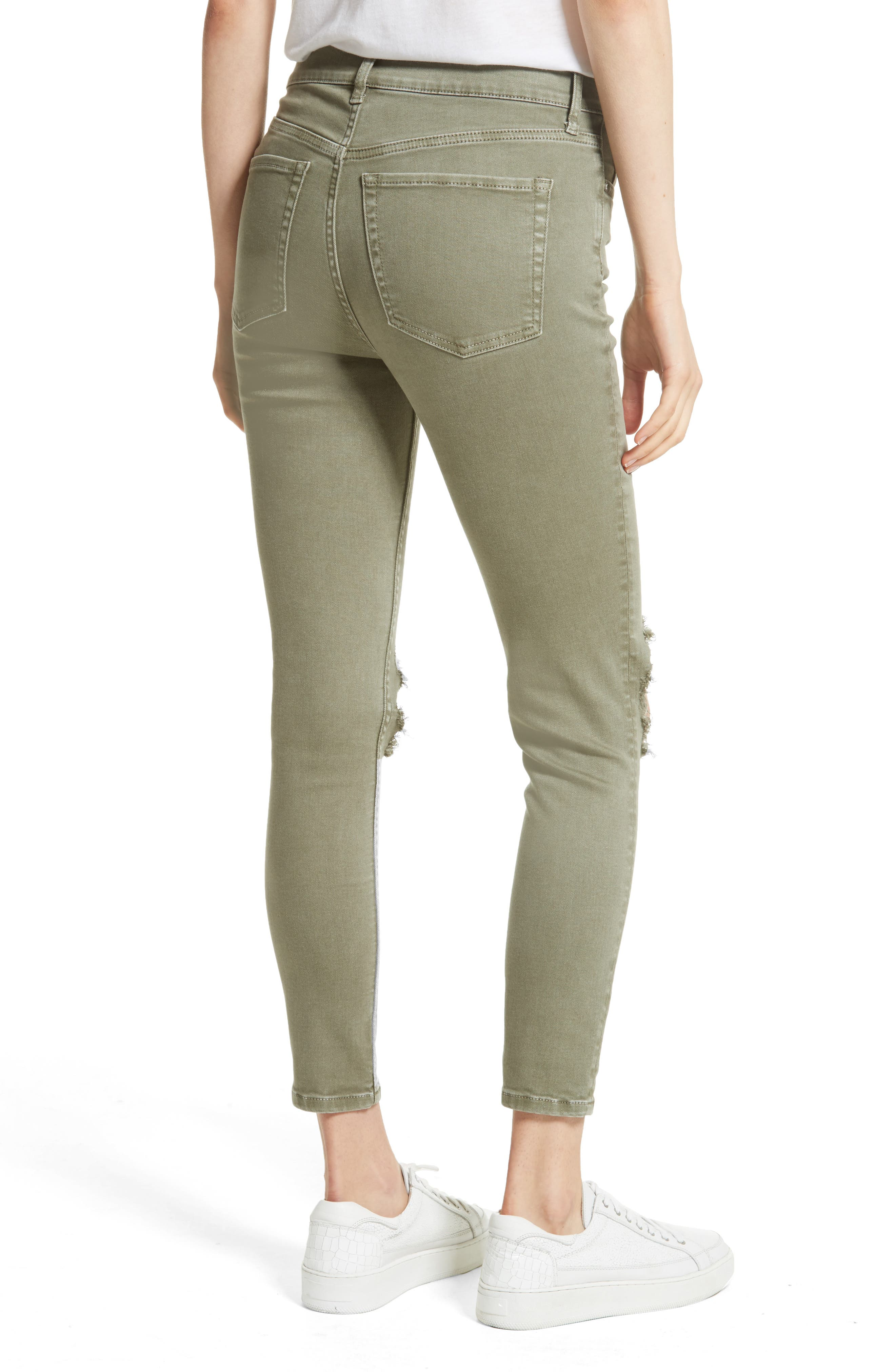 Alternate Image 2  - Free People High Rise Busted Knee Skinny Jeans (Moss)