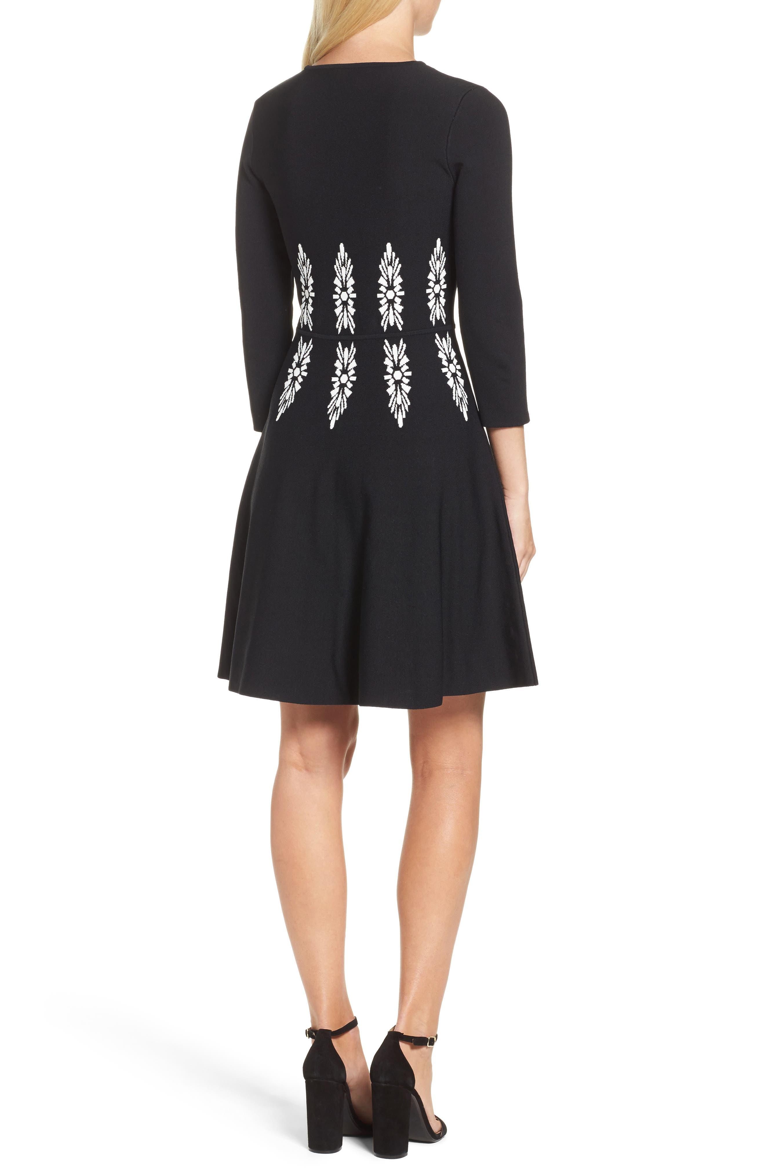 Alternate Image 2  - Eliza J Three-Quarter Sleeve Fit & Flare Dress