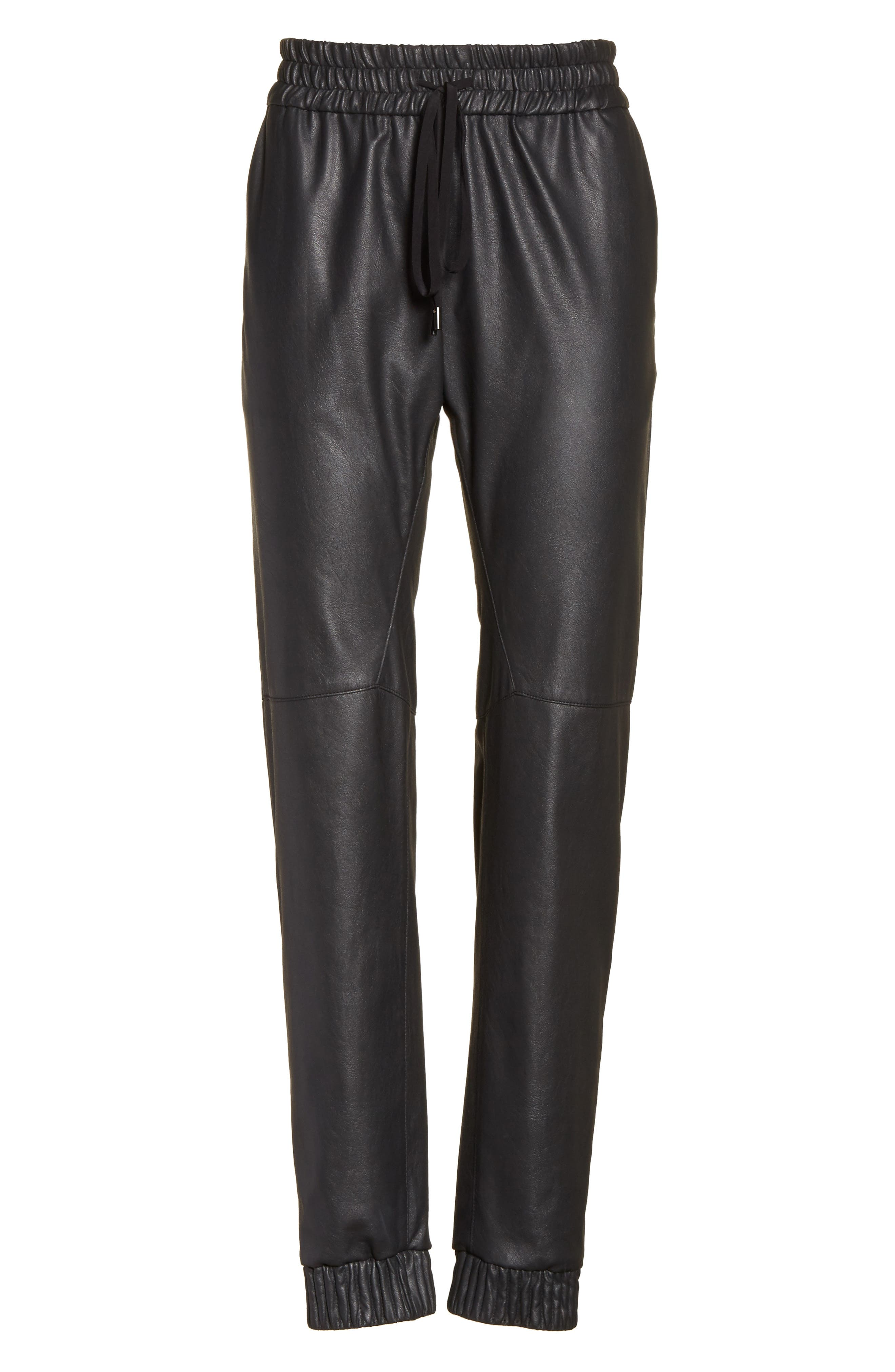 Alternate Image 6  - Rebecca Taylor Faux Leather Track Pants