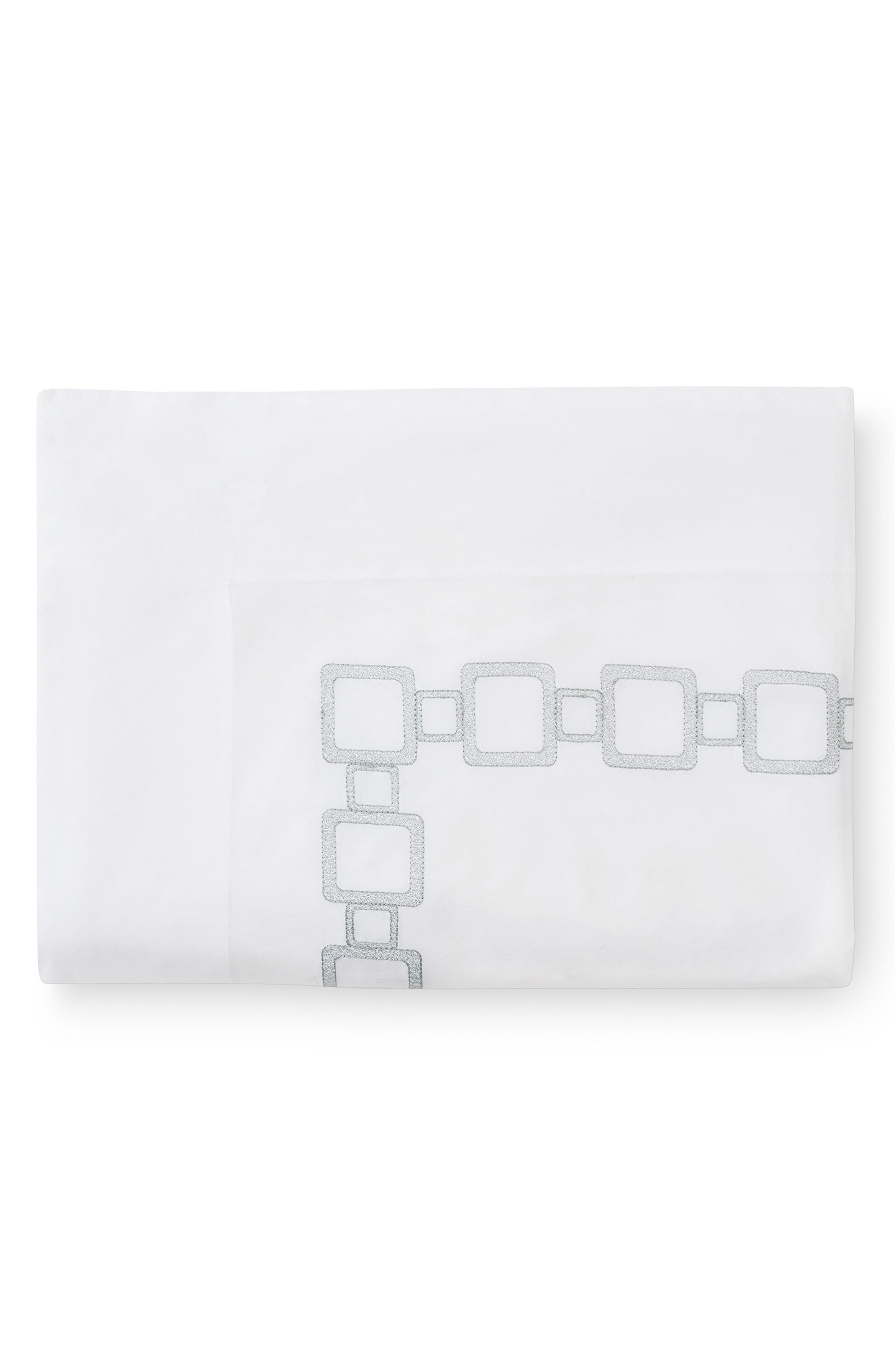 Vessa 400 Thread Count Flat Sheet,                         Main,                         color, Wht/Silversage
