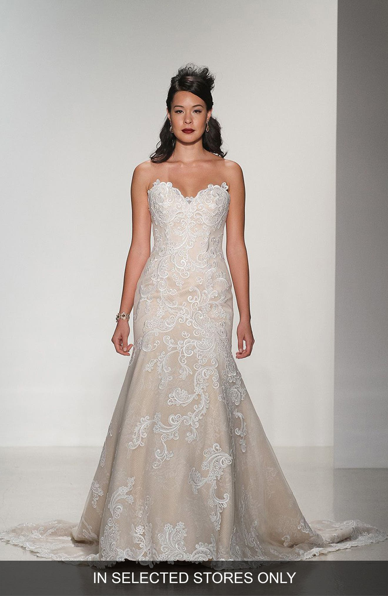 Alternate Image 1 Selected - Matthew Christopher Daniella Strapless Lace Trumpet Gown