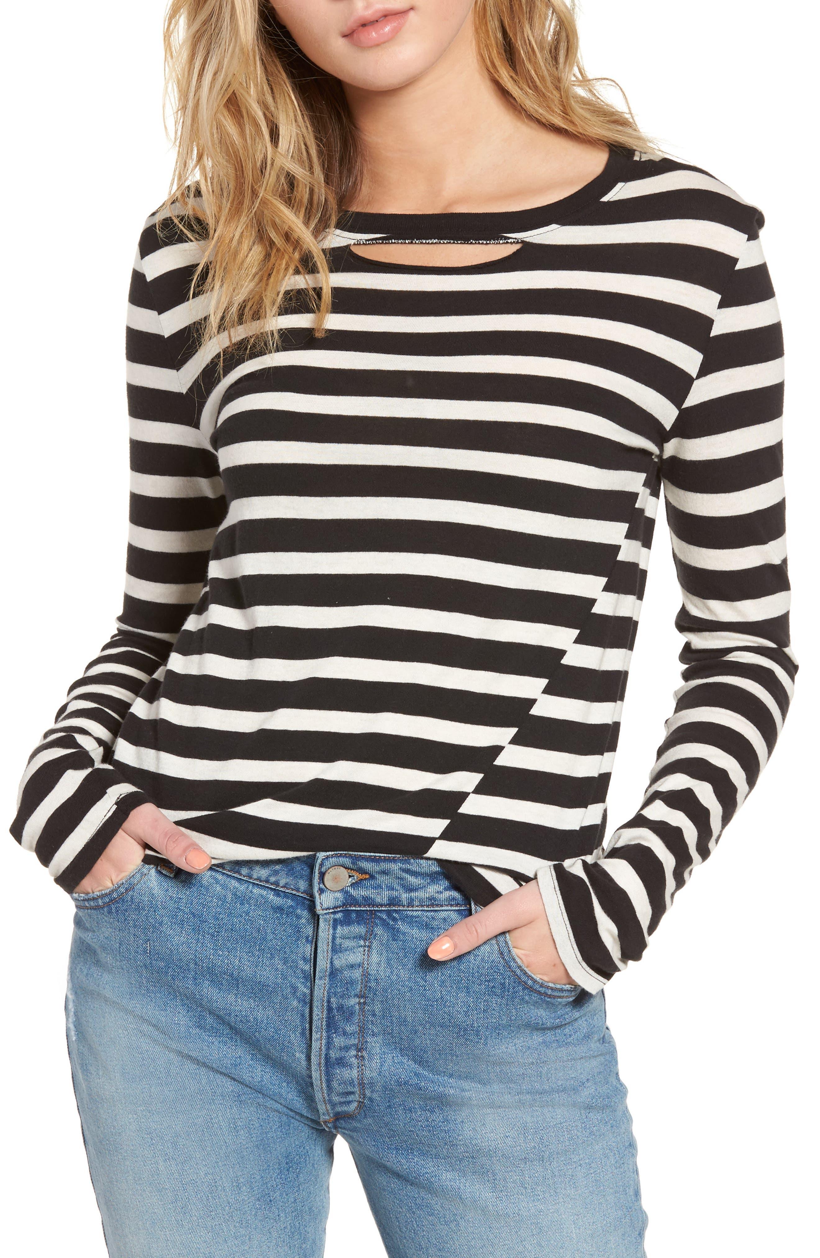 Alternate Image 1 Selected - Pam & Gela Stripe Long Sleeve Top