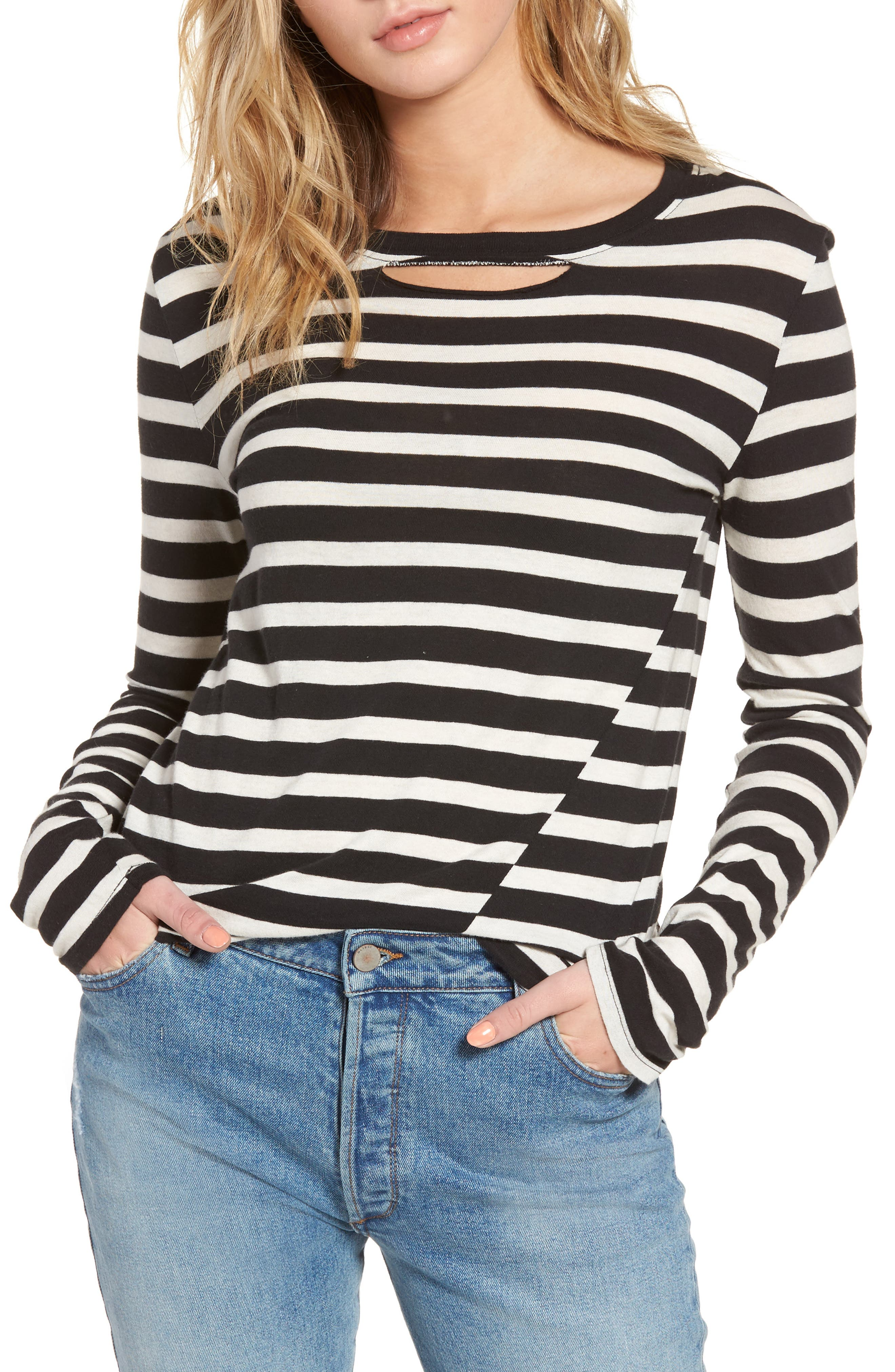 Stripe Long Sleeve Top,                         Main,                         color, Black/ White