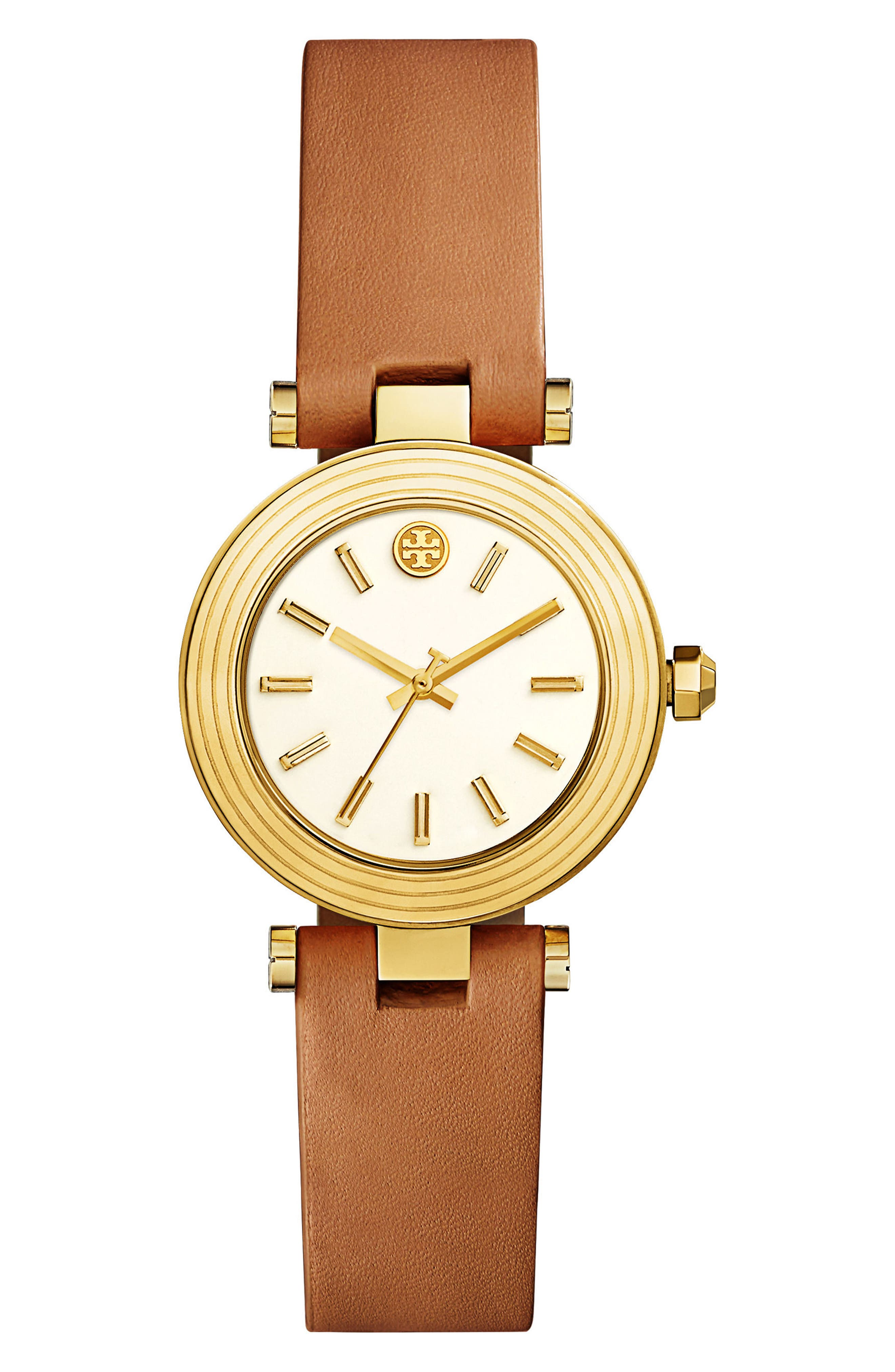 Alternate Image 1 Selected - Tory Burch Classic-T Leather Strap Watch, 30mm