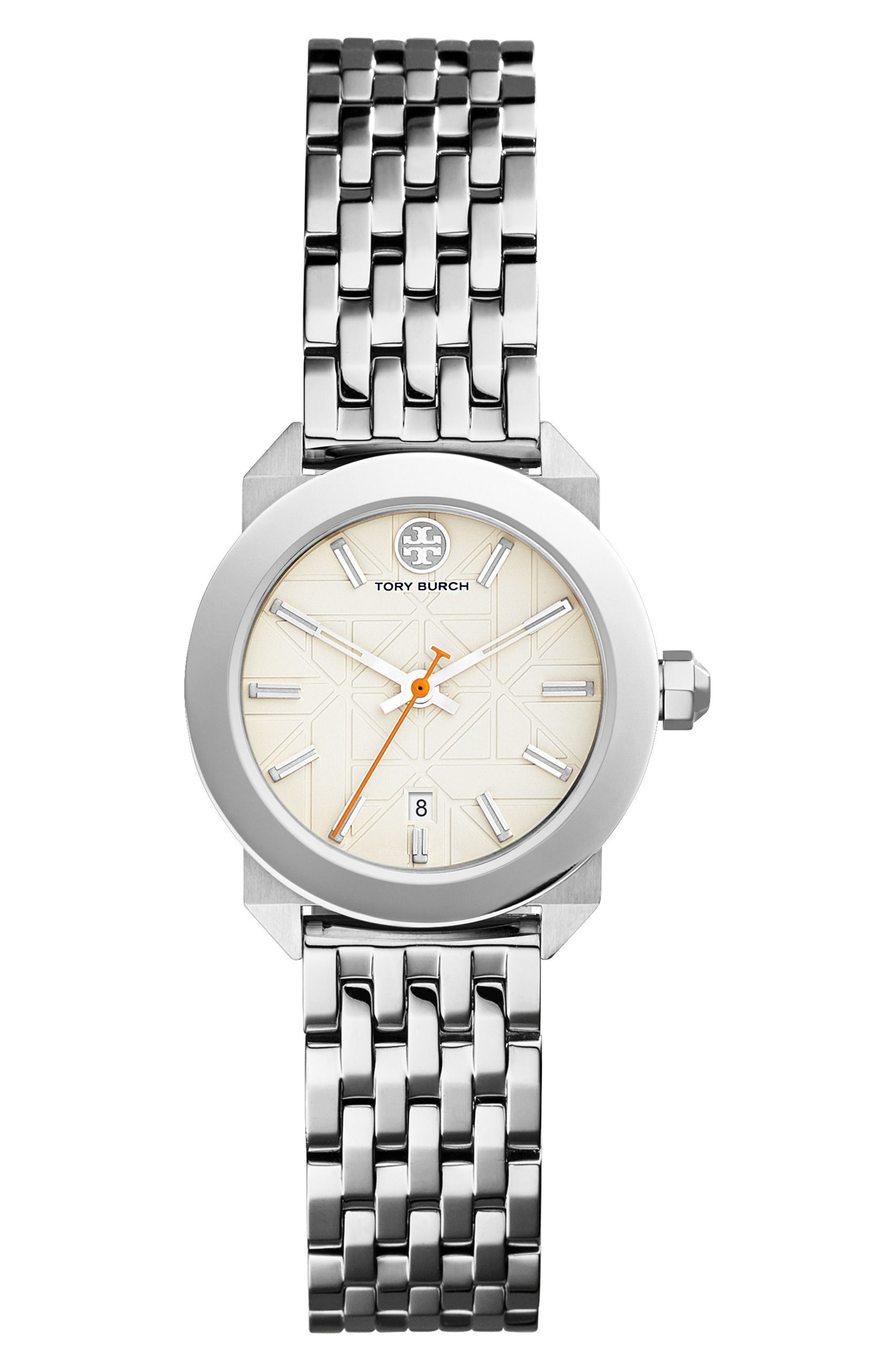 Whitney Bracelet Watch, 28mm,                             Main thumbnail 1, color,                             Silver/ Ivory/ Silver