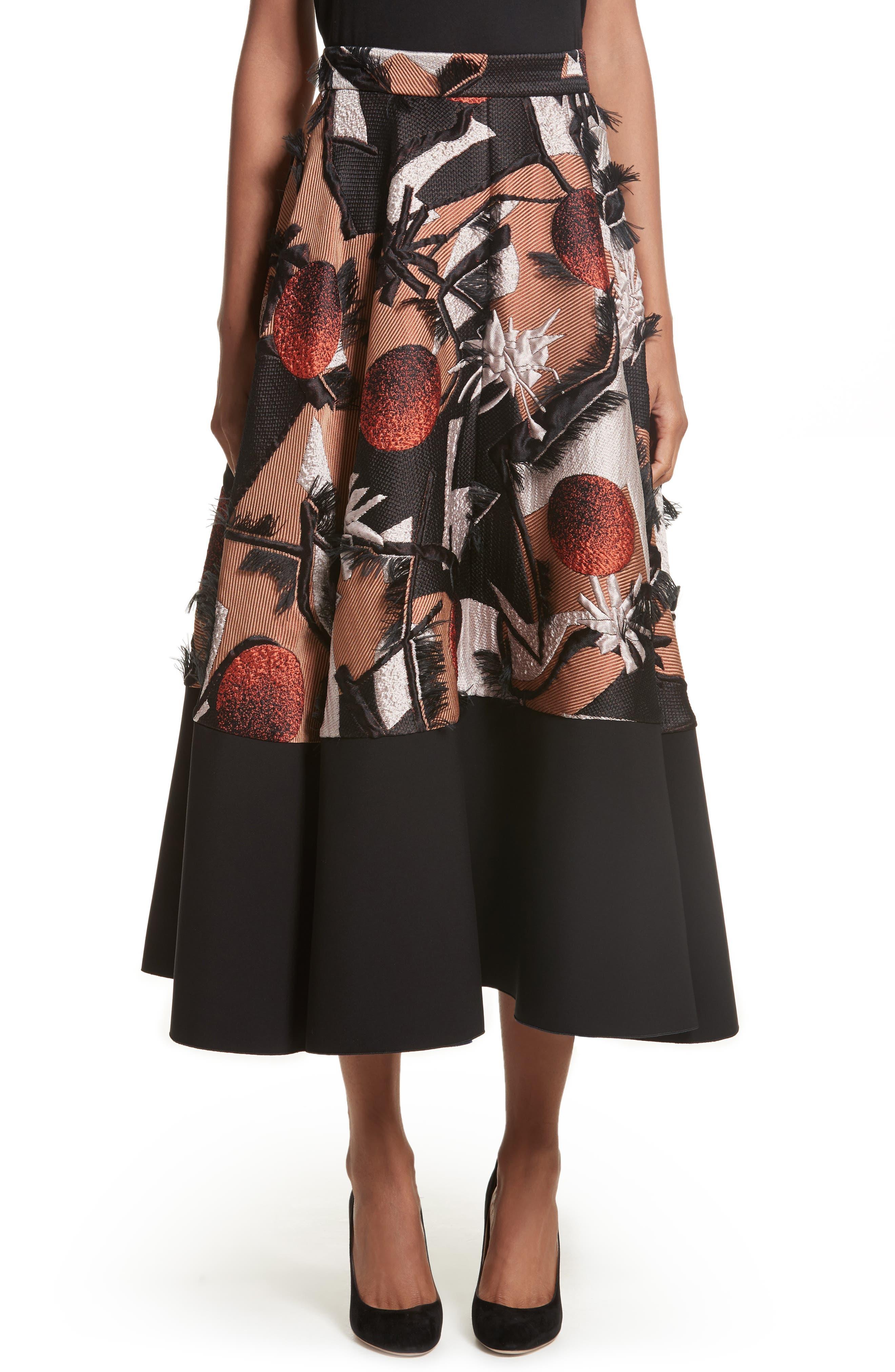 Sharpin Silk Blend Jacquard Skirt,                             Main thumbnail 1, color,                             Black Orange Blue
