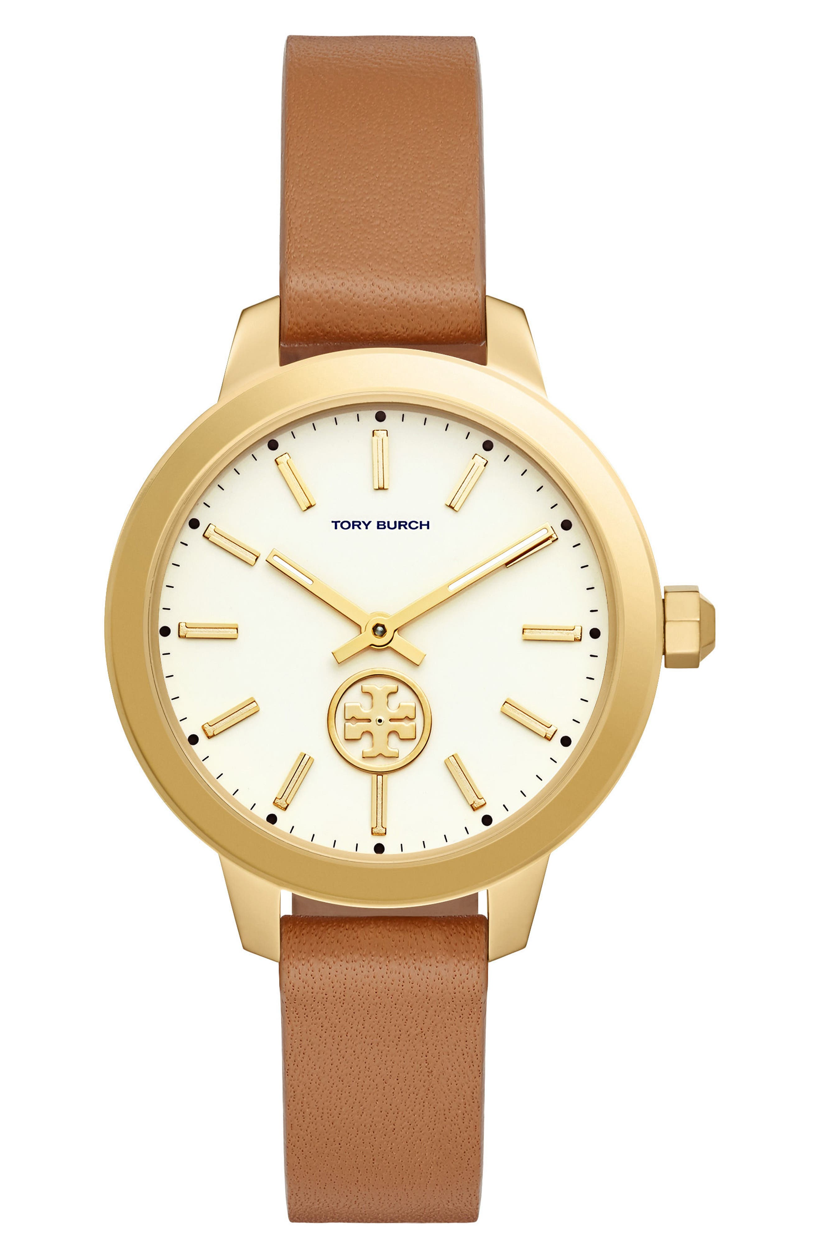 Collins Leather Strap Watch, 38mm,                         Main,                         color, Luggage/ Ivory/ Gold