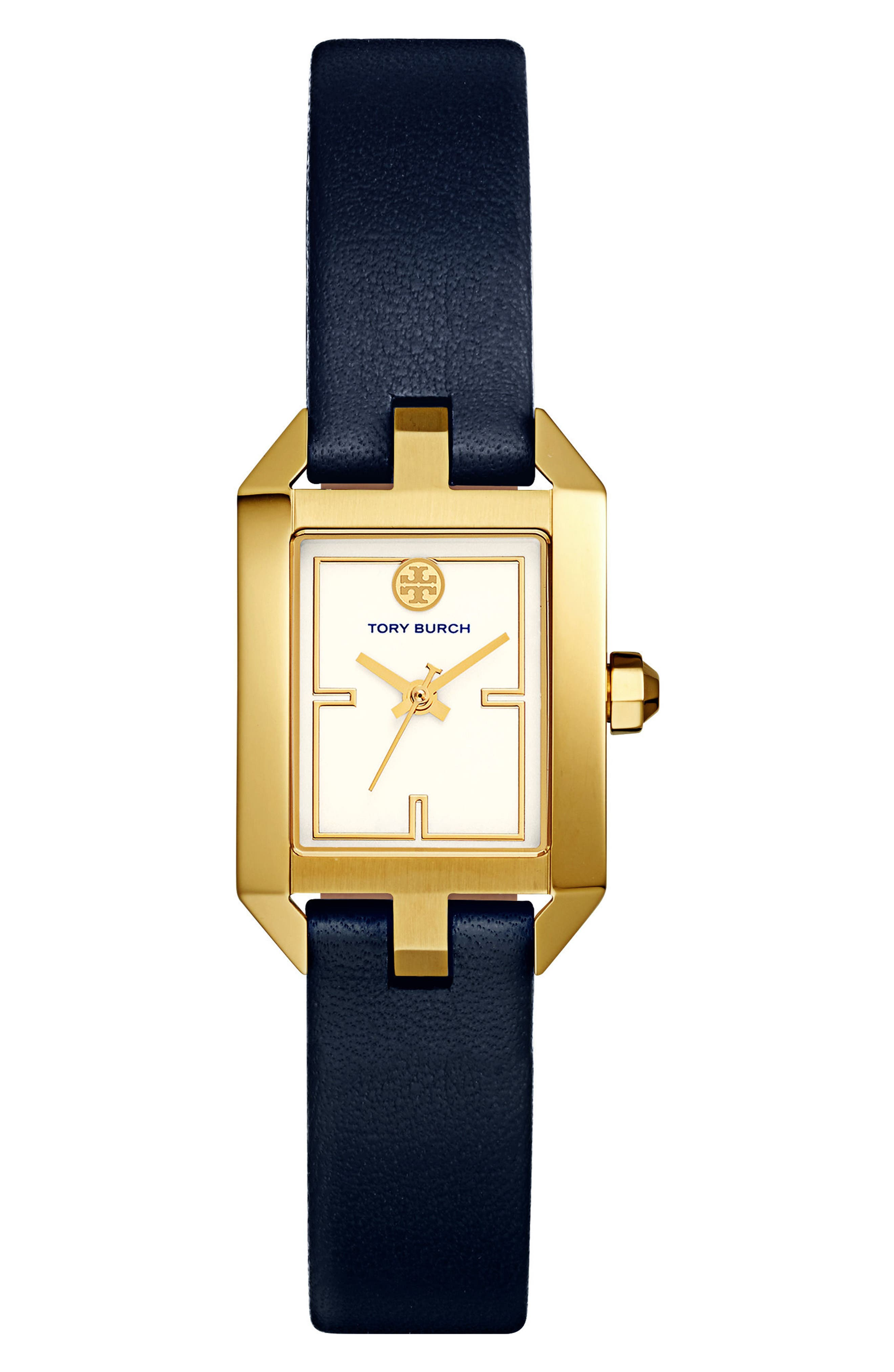 Dalloway Leather Strap Watch, 23mm x 36.5mm,                         Main,                         color, Navy/ Ivory/ Gold