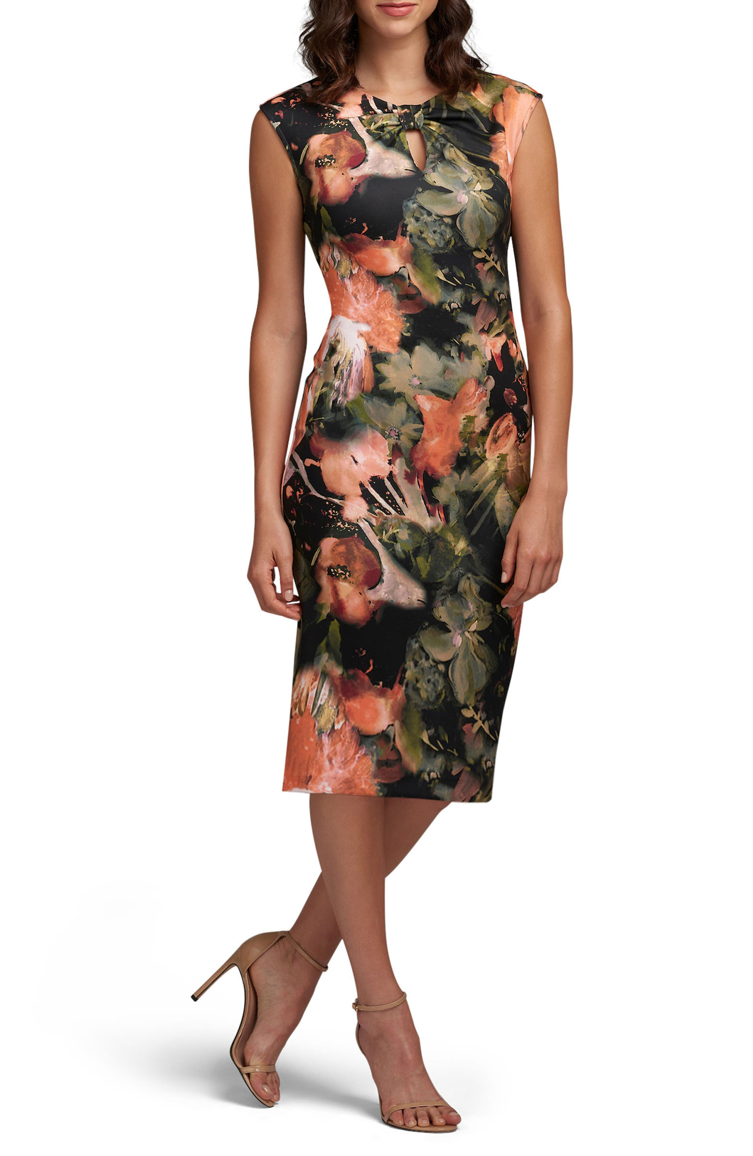 Bow Tie Neck Print Sheath Dress,                         Main,                         color, Coral