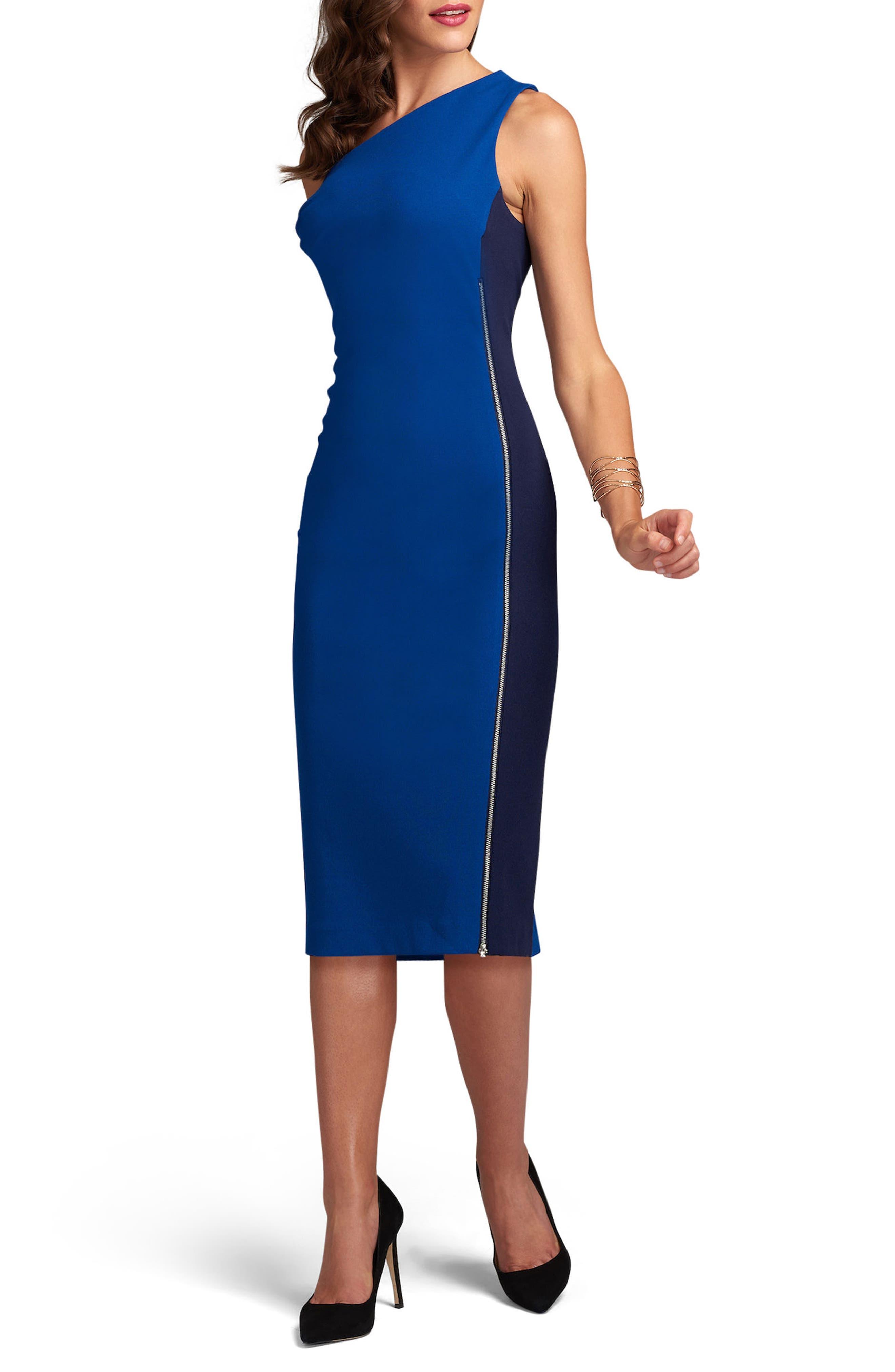 One-Shoulder Tonal Sheath Dress,                         Main,                         color, Blue/ Navy