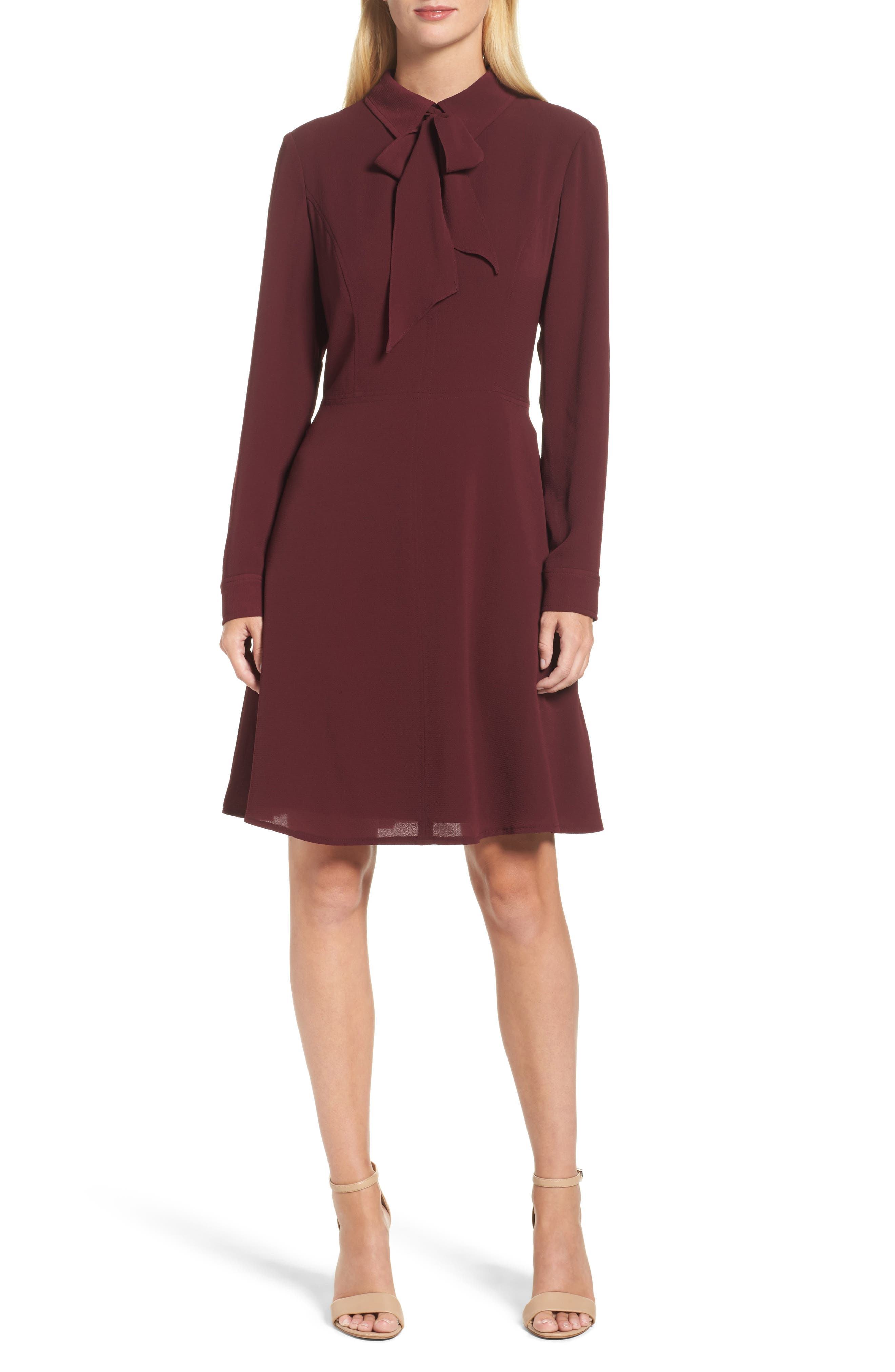 Crepe Bow Fit & Flare Dress,                         Main,                         color, Wine