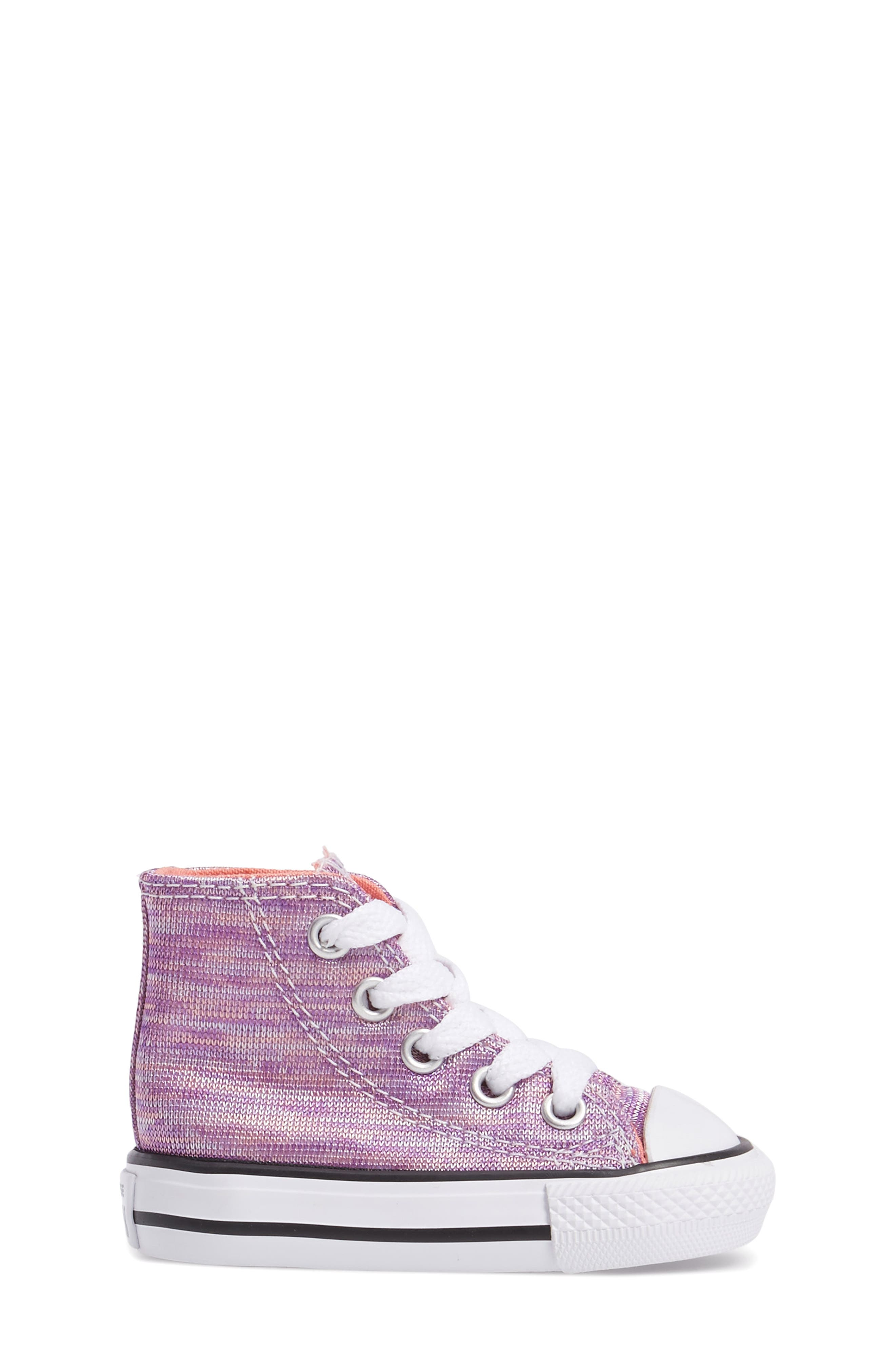 Chuck Taylor<sup>®</sup> All Star<sup>®</sup> Knit High Top Sneaker,                             Alternate thumbnail 3, color,                             Bright Violet Textile
