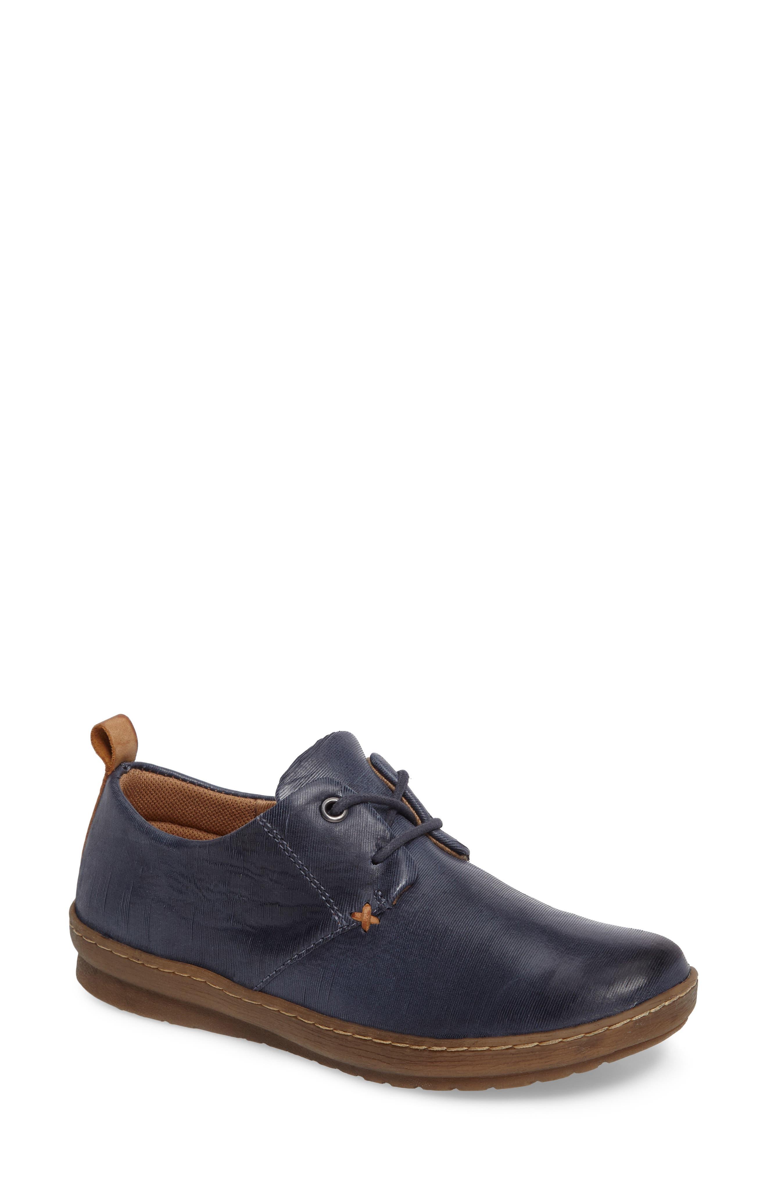 Cassandra Siped Sneaker,                         Main,                         color, Denim Blue Leather