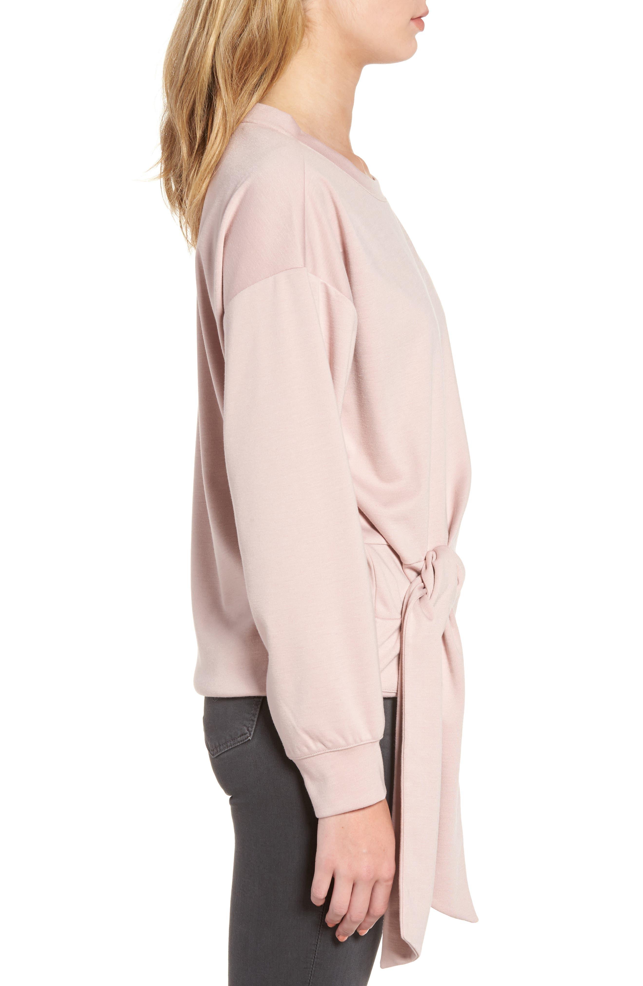 Tie Front Sweatshirt,                             Alternate thumbnail 3, color,                             Pink Adobe