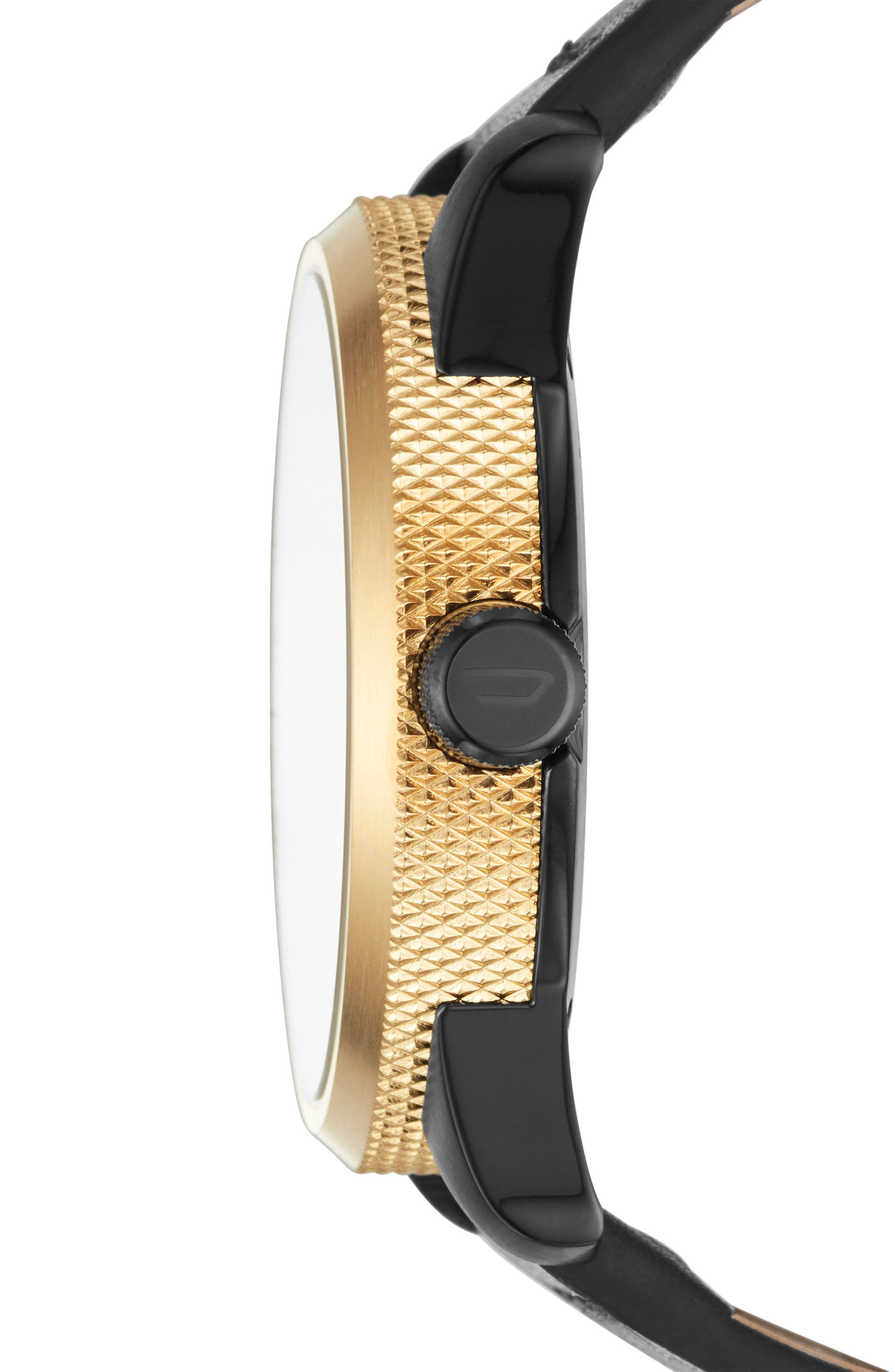 Alternate Image 2  - DIESEL® Rasp Leather Strap Watch & Bracelet Set, 46mm x 53mm