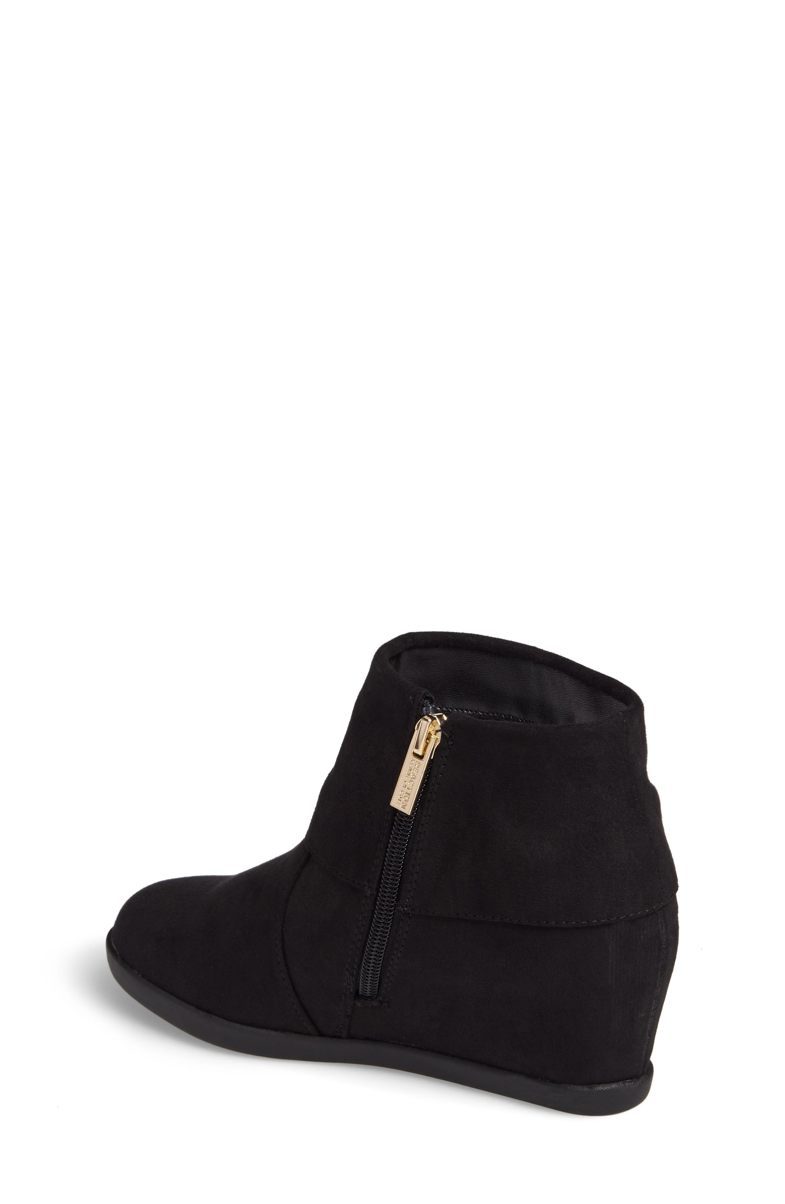 Valentina Cuff Concealed Wedge Bootie,                             Alternate thumbnail 2, color,                             Black
