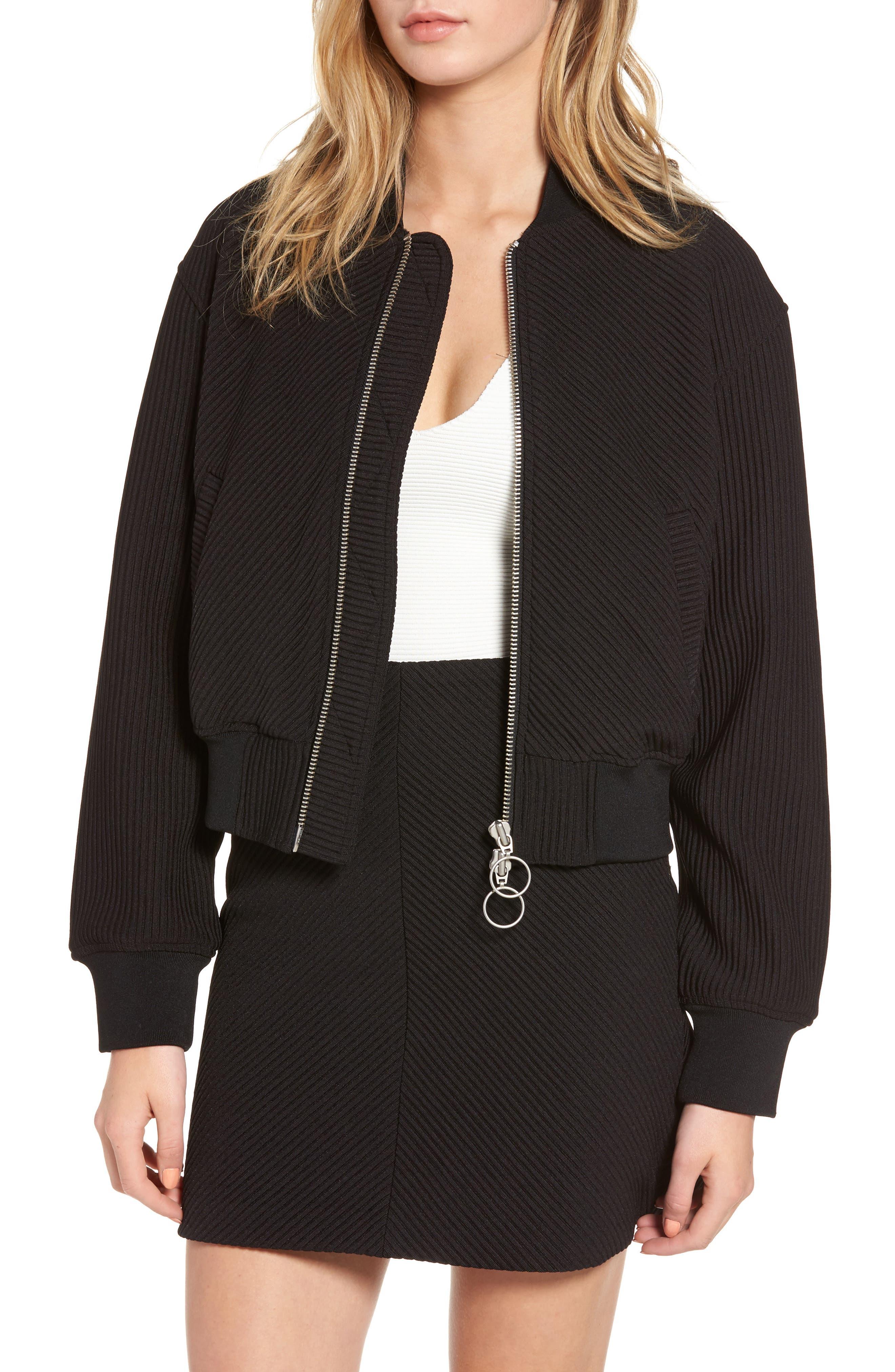 Ribbed Track Jacket,                         Main,                         color, Black
