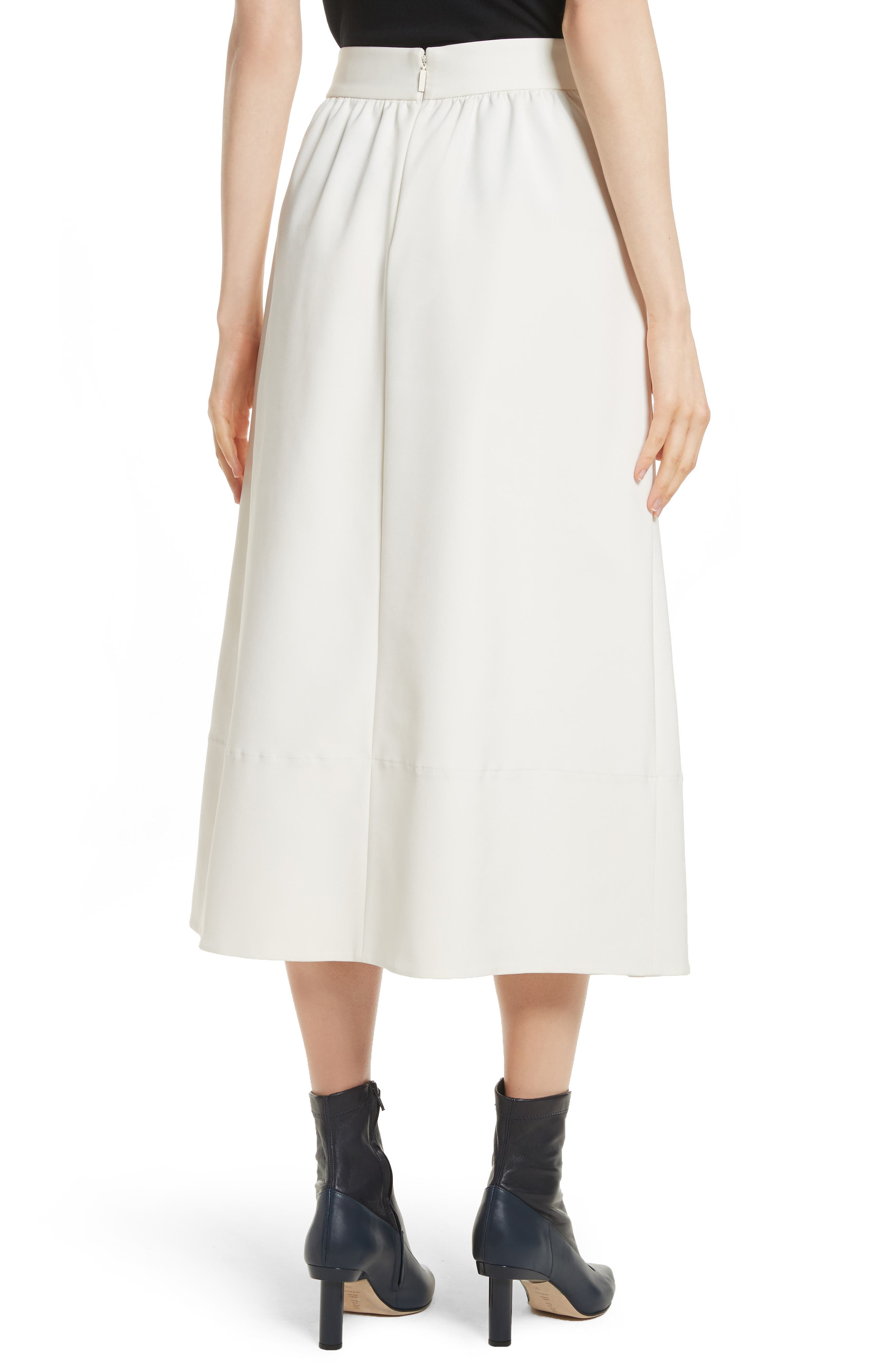 Stretch Faille Full Midi Skirt,                             Alternate thumbnail 2, color,                             Ivory