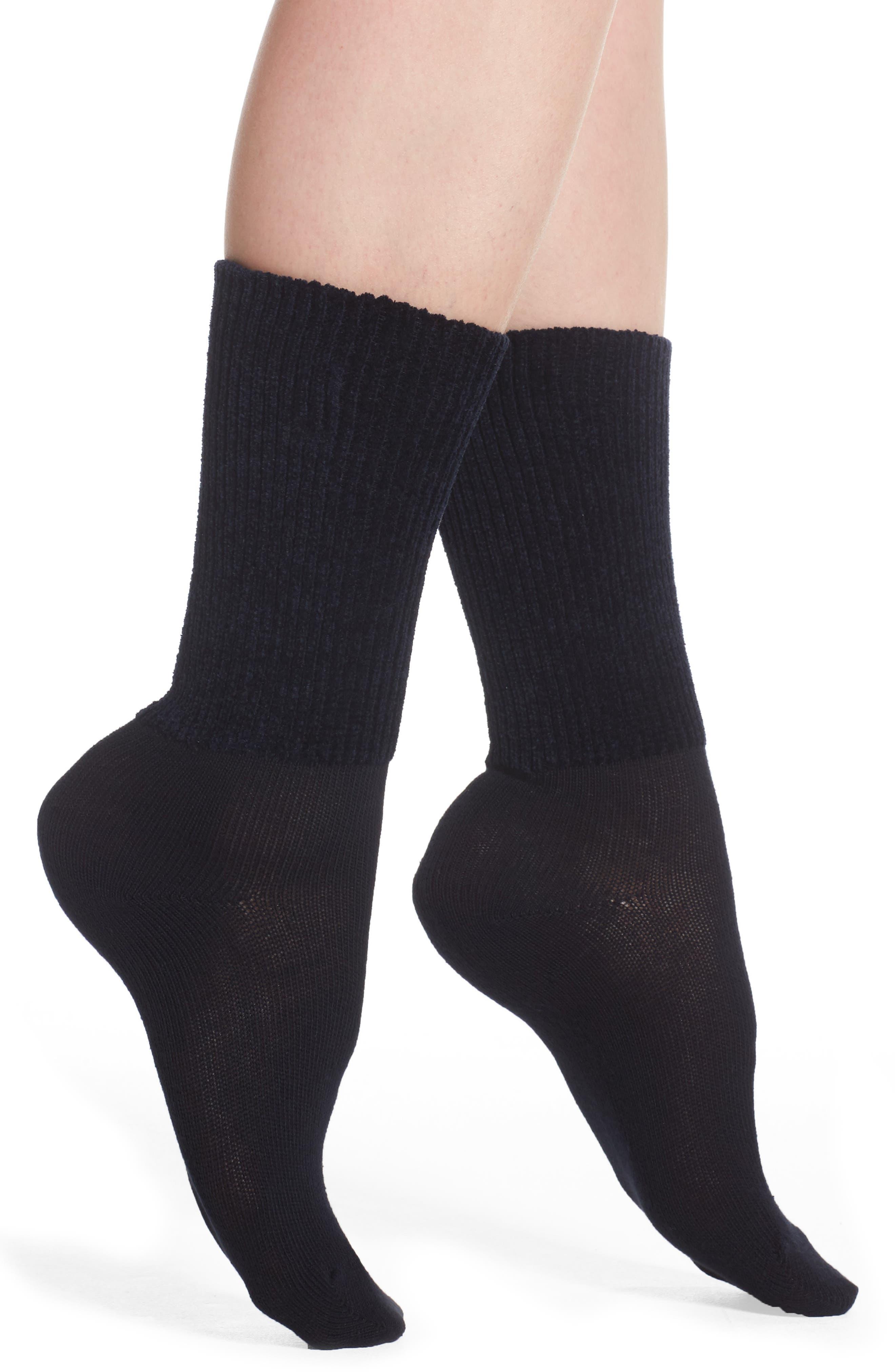 Chenille & Cotton Blend Socks,                             Main thumbnail 1, color,                             Marine