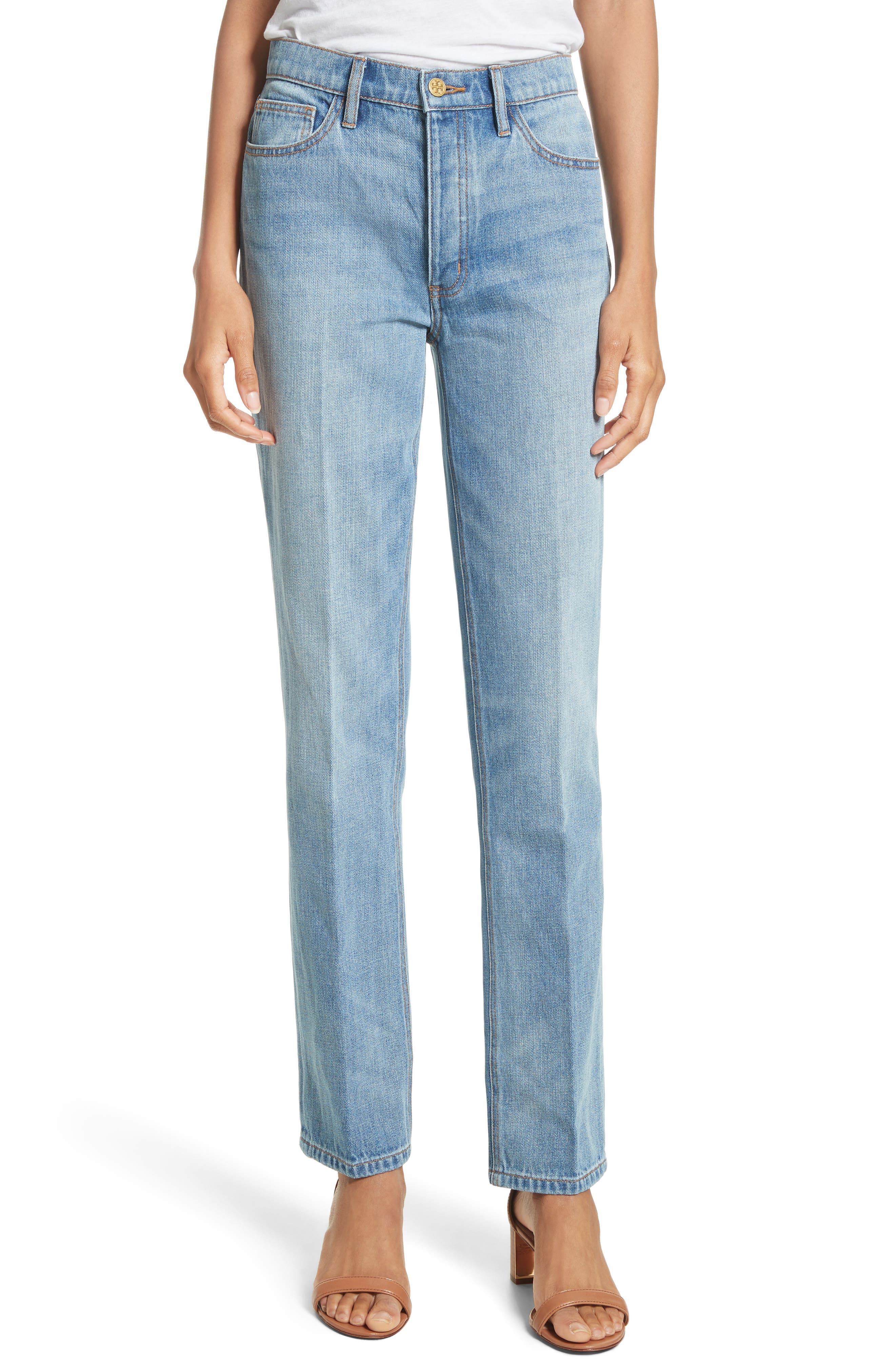 Main Image - Tory Burch Betsy Straight Leg Jeans (Dusk Blue)