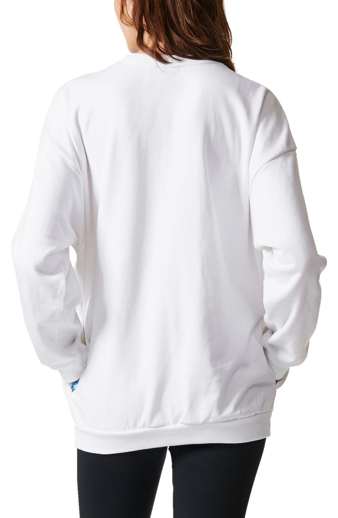 Originals Trefoil Crewneck Sweatshirt,                             Alternate thumbnail 2, color,                             White