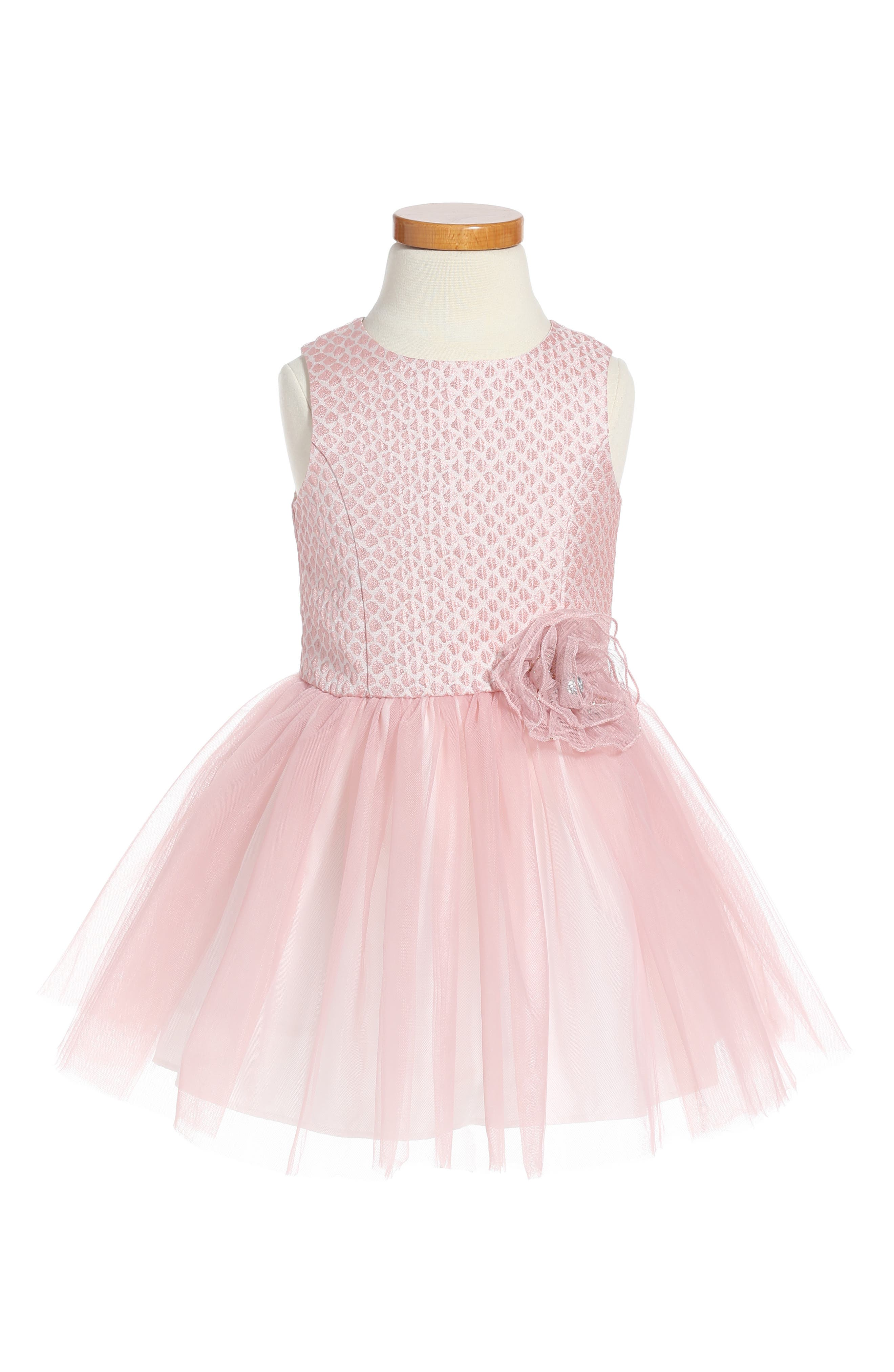 Brocade & Tulle Dress,                         Main,                         color, Pink