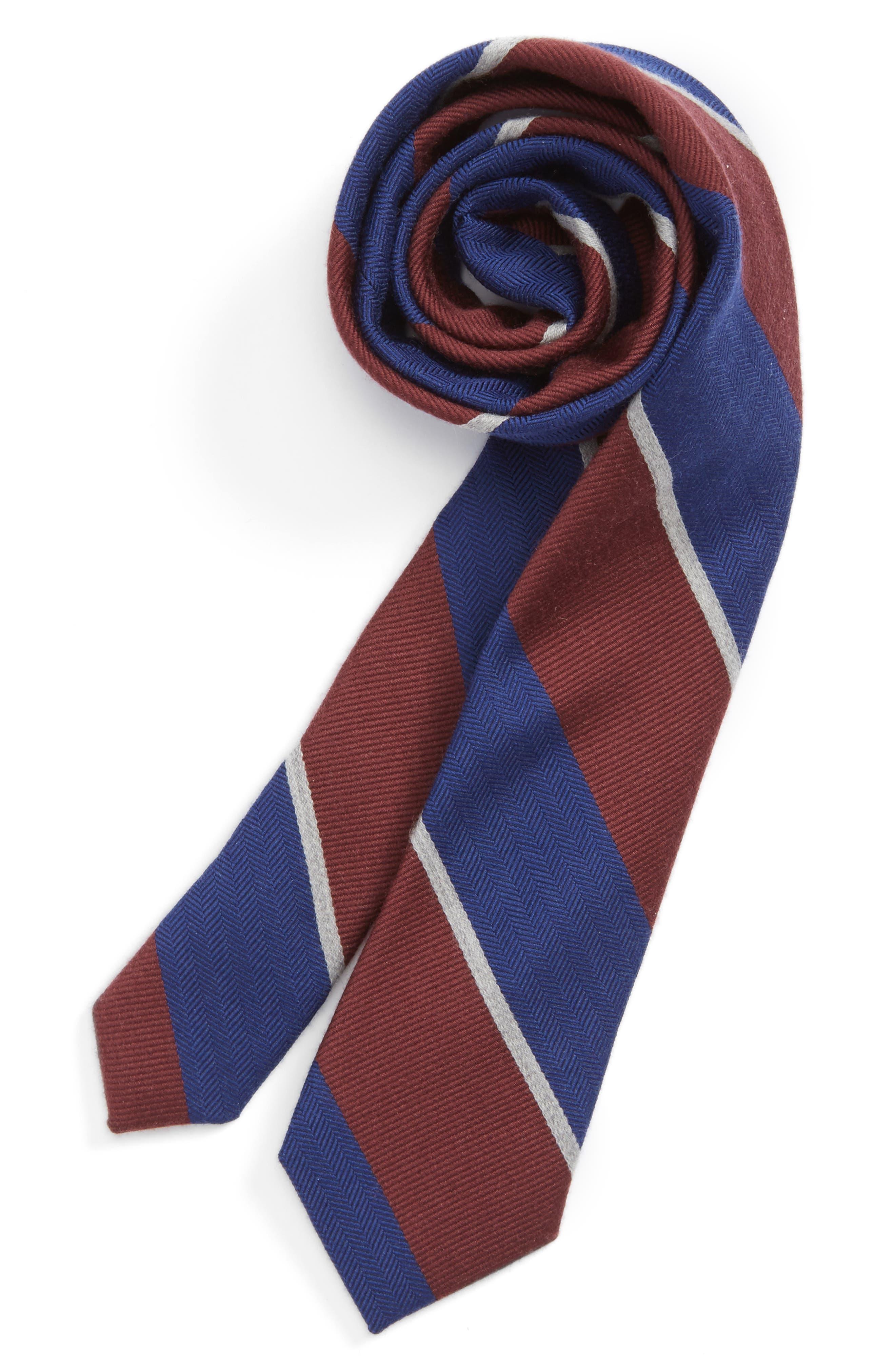 Stripe Wool & Silk Tie,                         Main,                         color, Wine