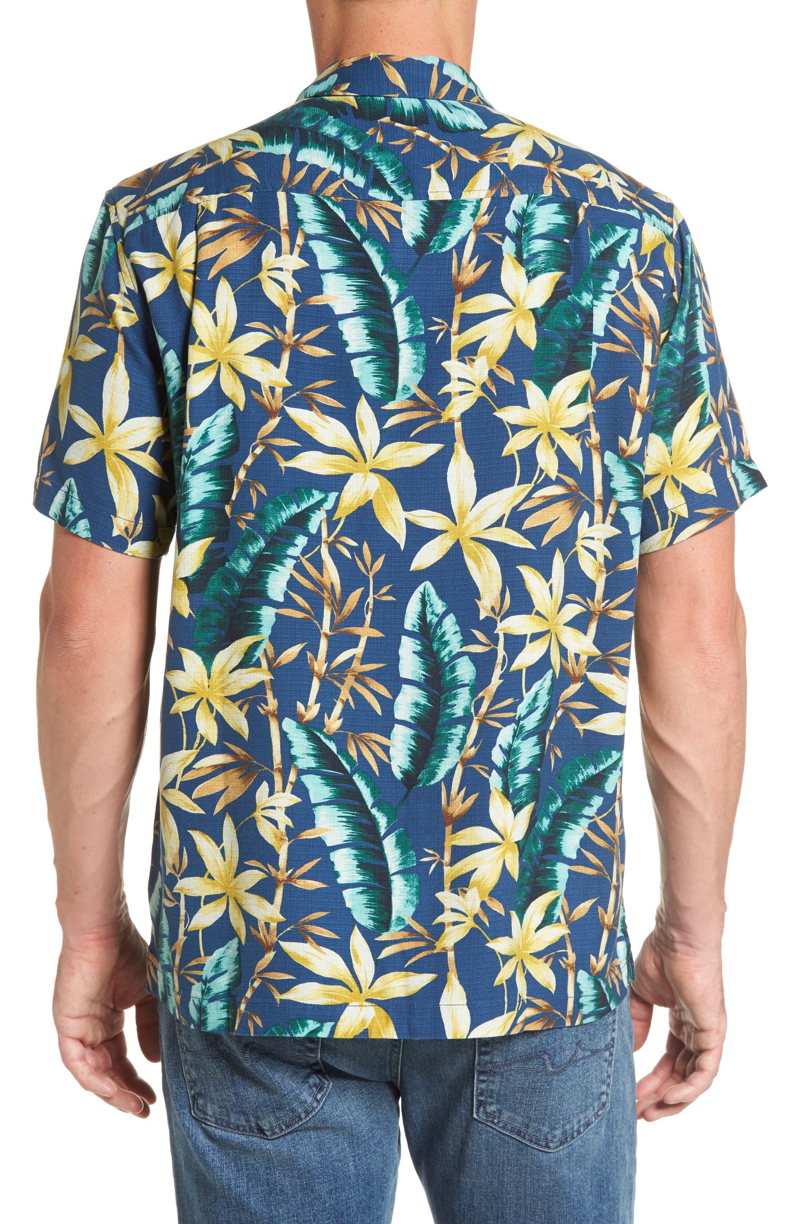 Standard Fit Jungle Punch Silk Camp Shirt,                             Alternate thumbnail 2, color,                             Bering Blue