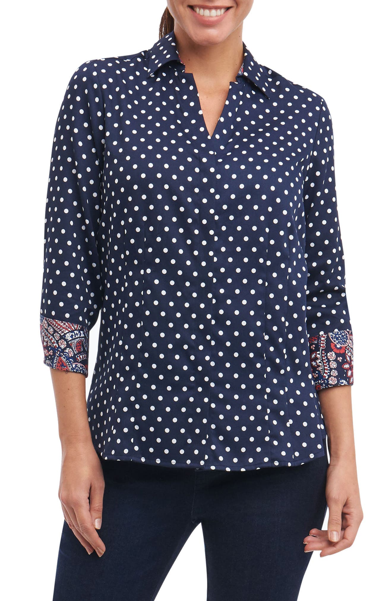 Taylor Classic Dot Non-Iron Cotton Shirt,                         Main,                         color, Navy/ White