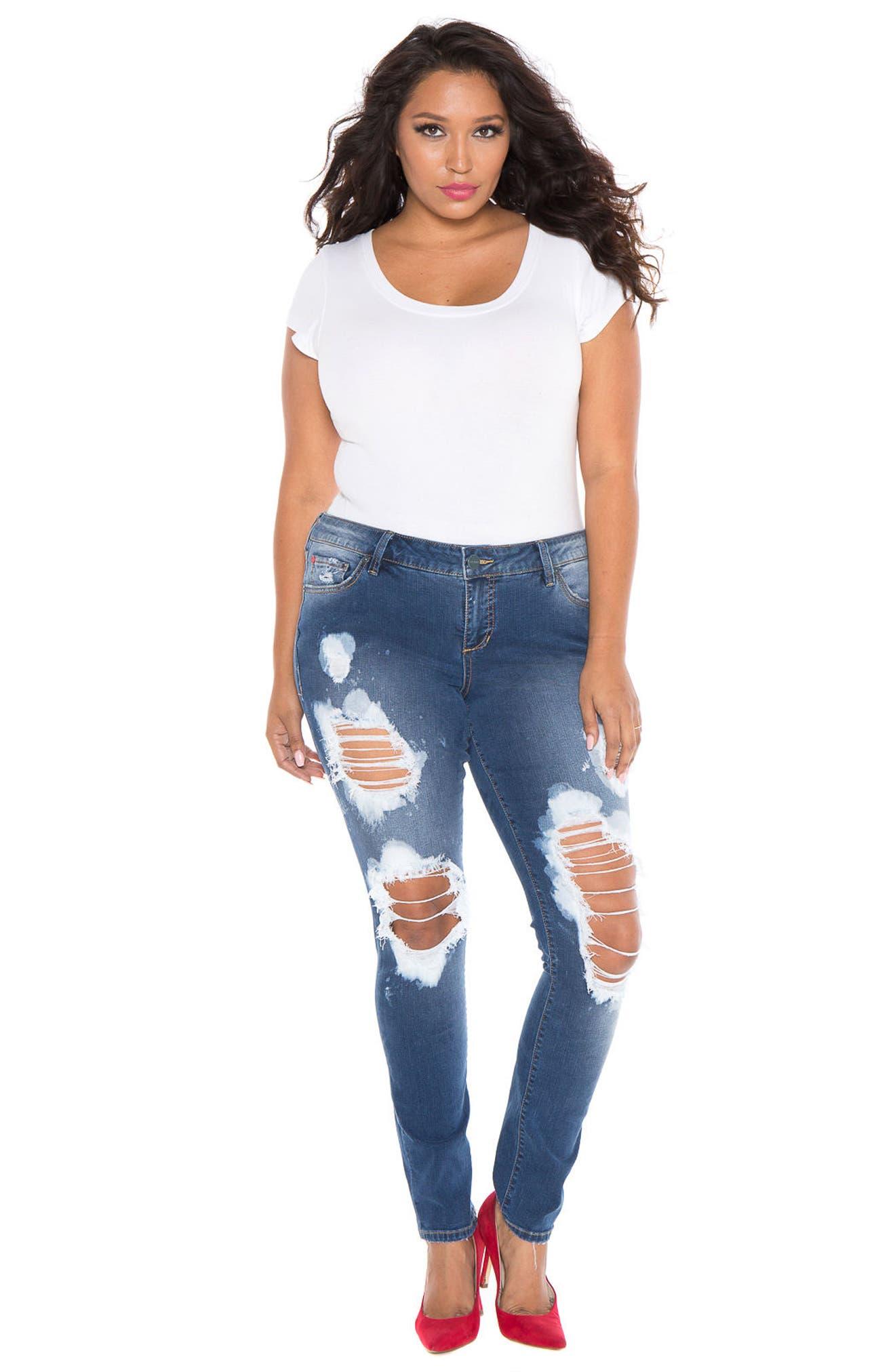 Alternate Image 4  - SLINK Destroyed Skinny Jeans (Plus Size)