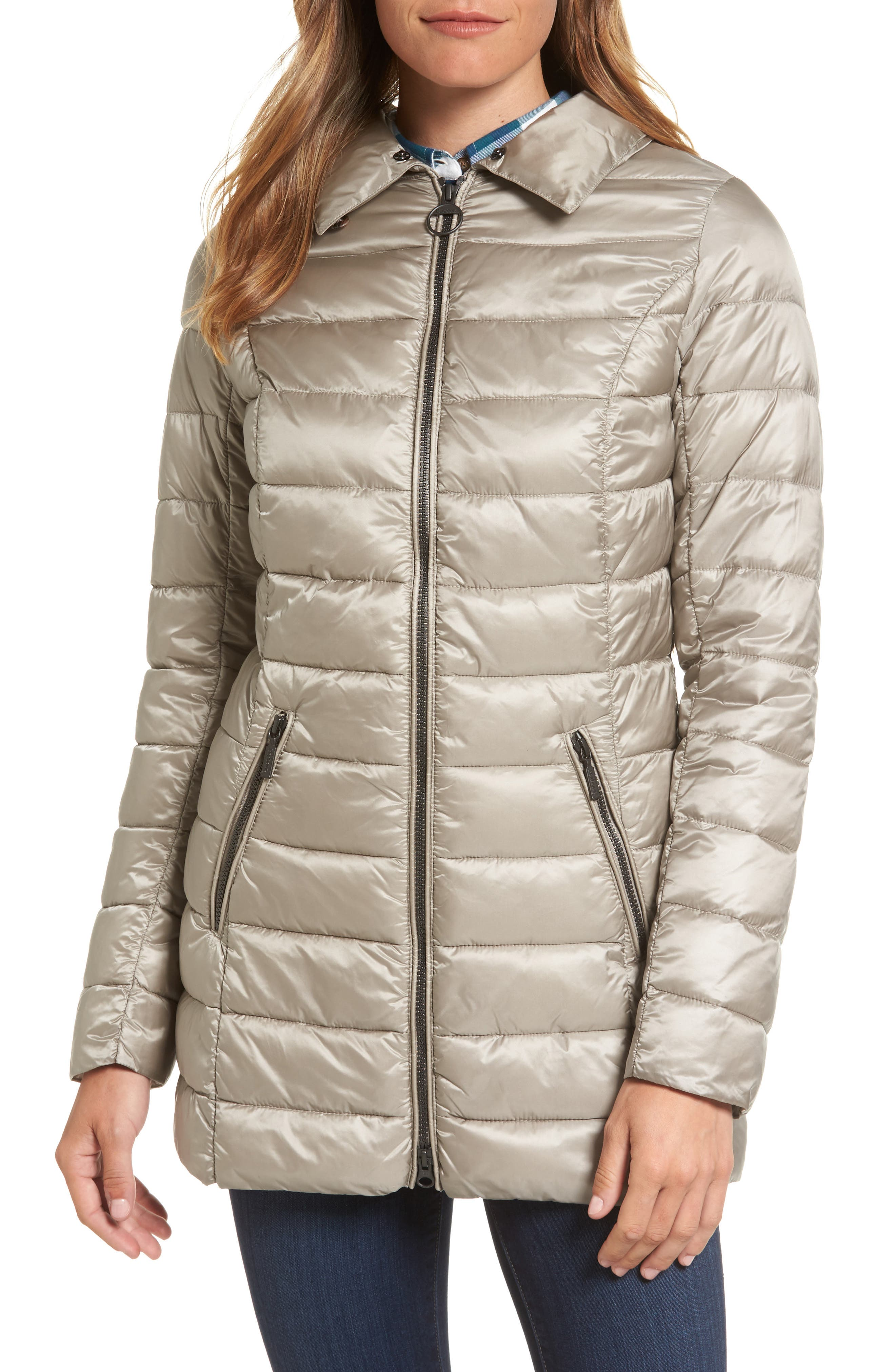 Rambleton Water Resistant Quilted Jacket with Faux Fur Collar,                             Alternate thumbnail 4, color,                             Taupe