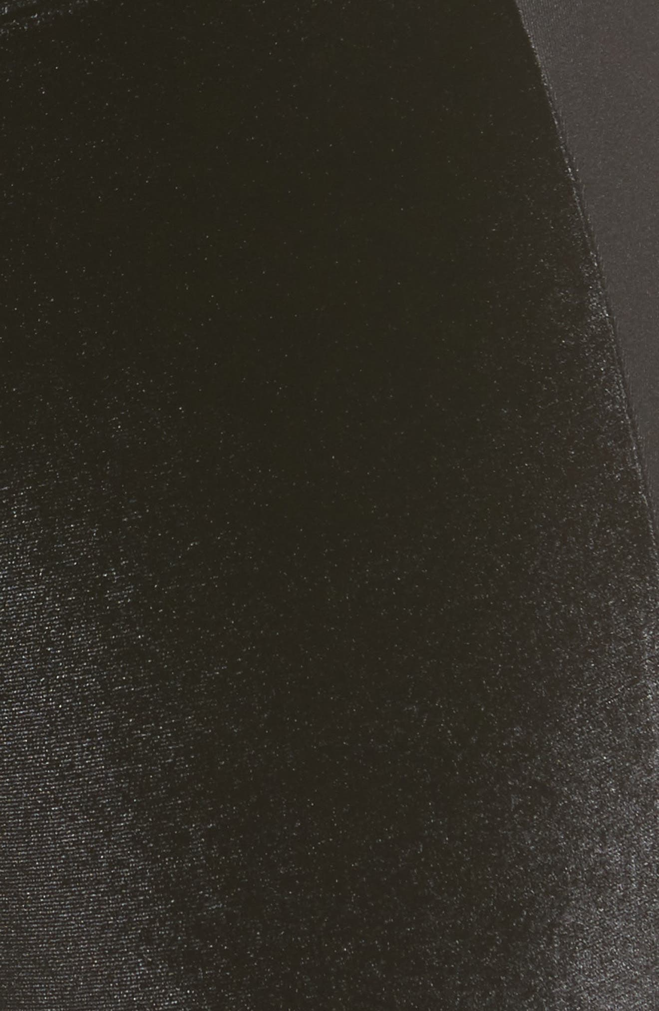 Velvet Panel Ankle Leggings,                             Alternate thumbnail 6, color,                             Black