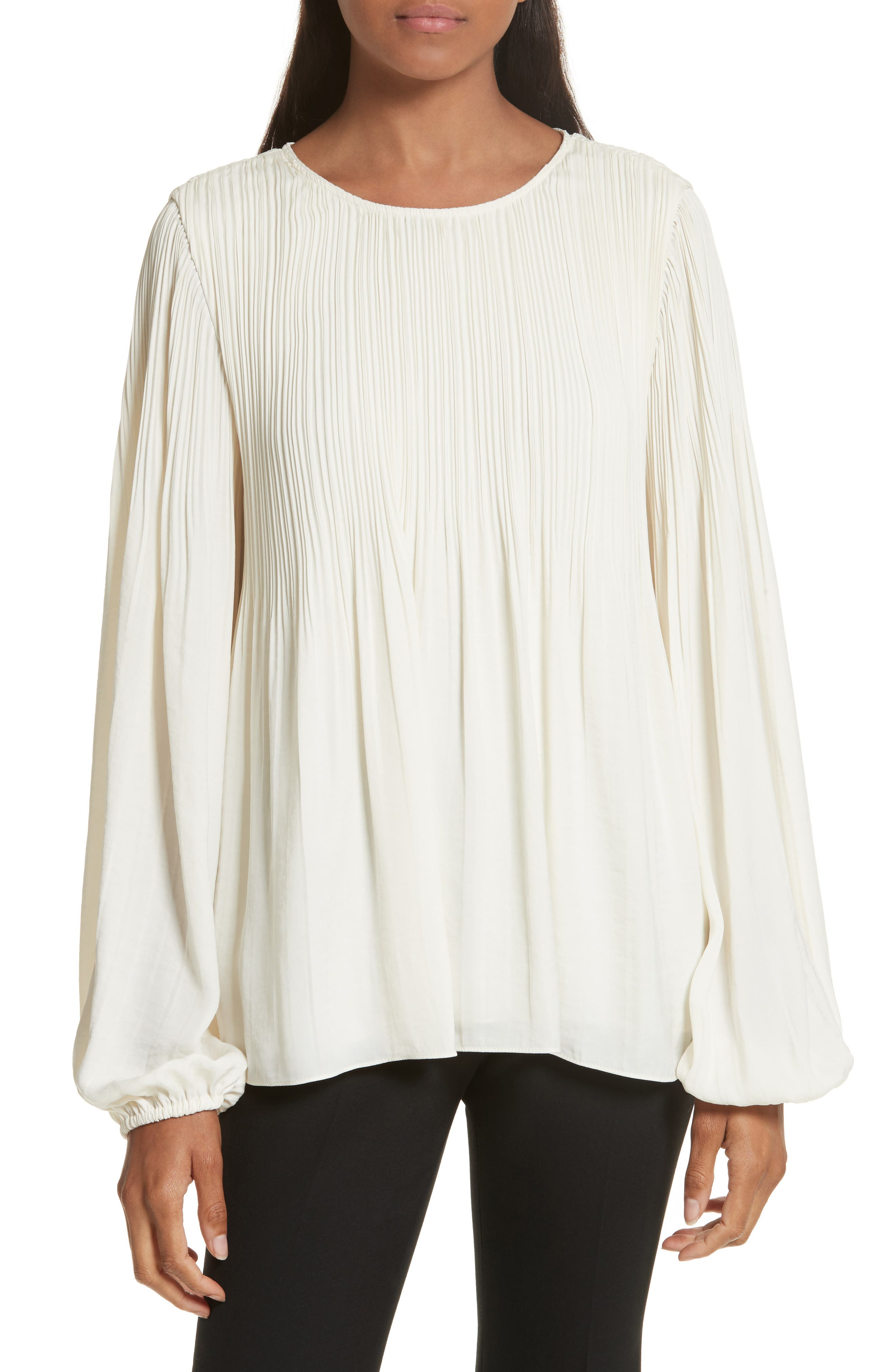 Grove Pleated Blouse,                             Main thumbnail 1, color,                             Alabaster
