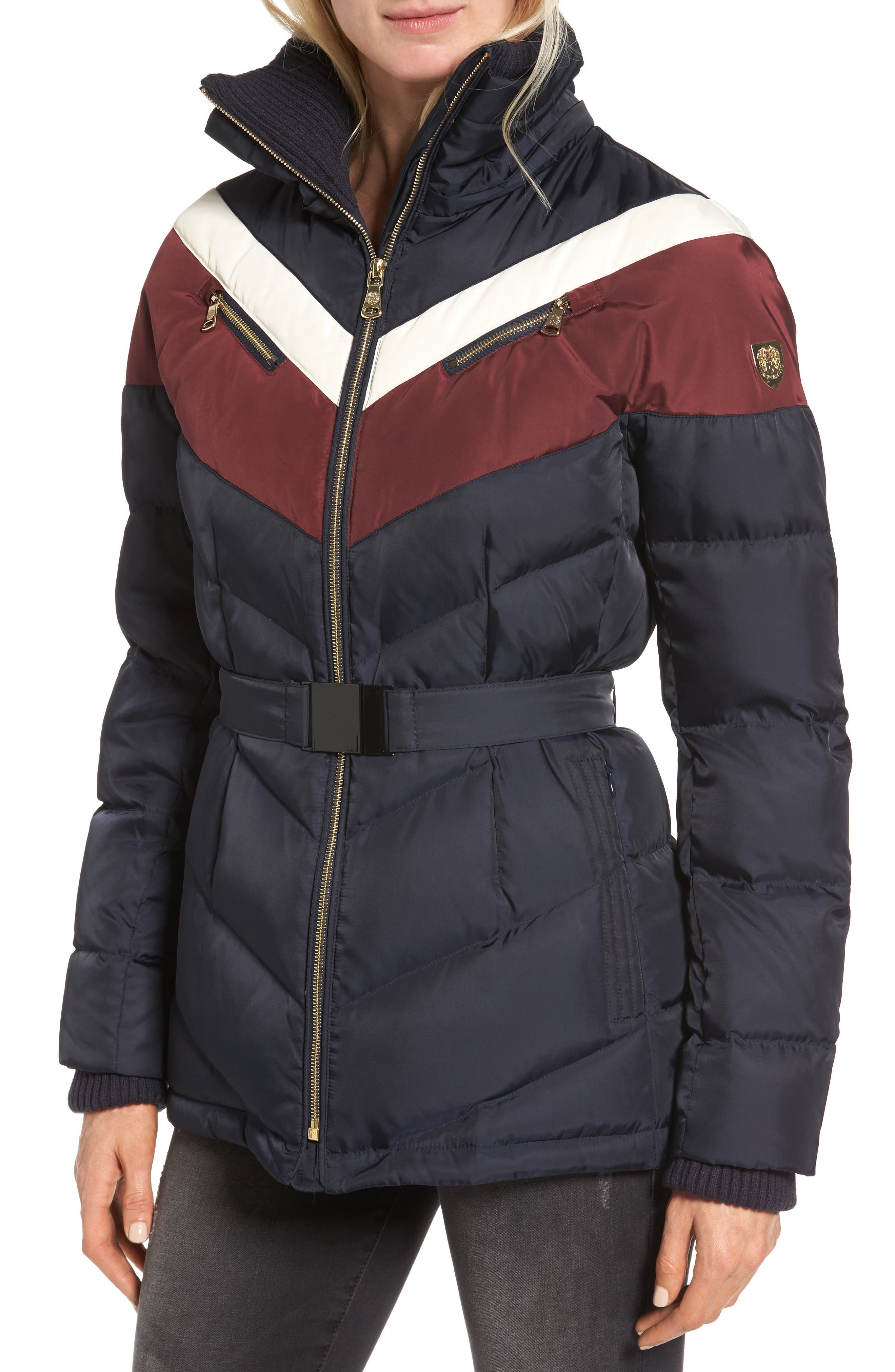 Belted Down & Feather Fill Coat with Faux Fur Trim Hood,                             Alternate thumbnail 4, color,                             Navy/Multi