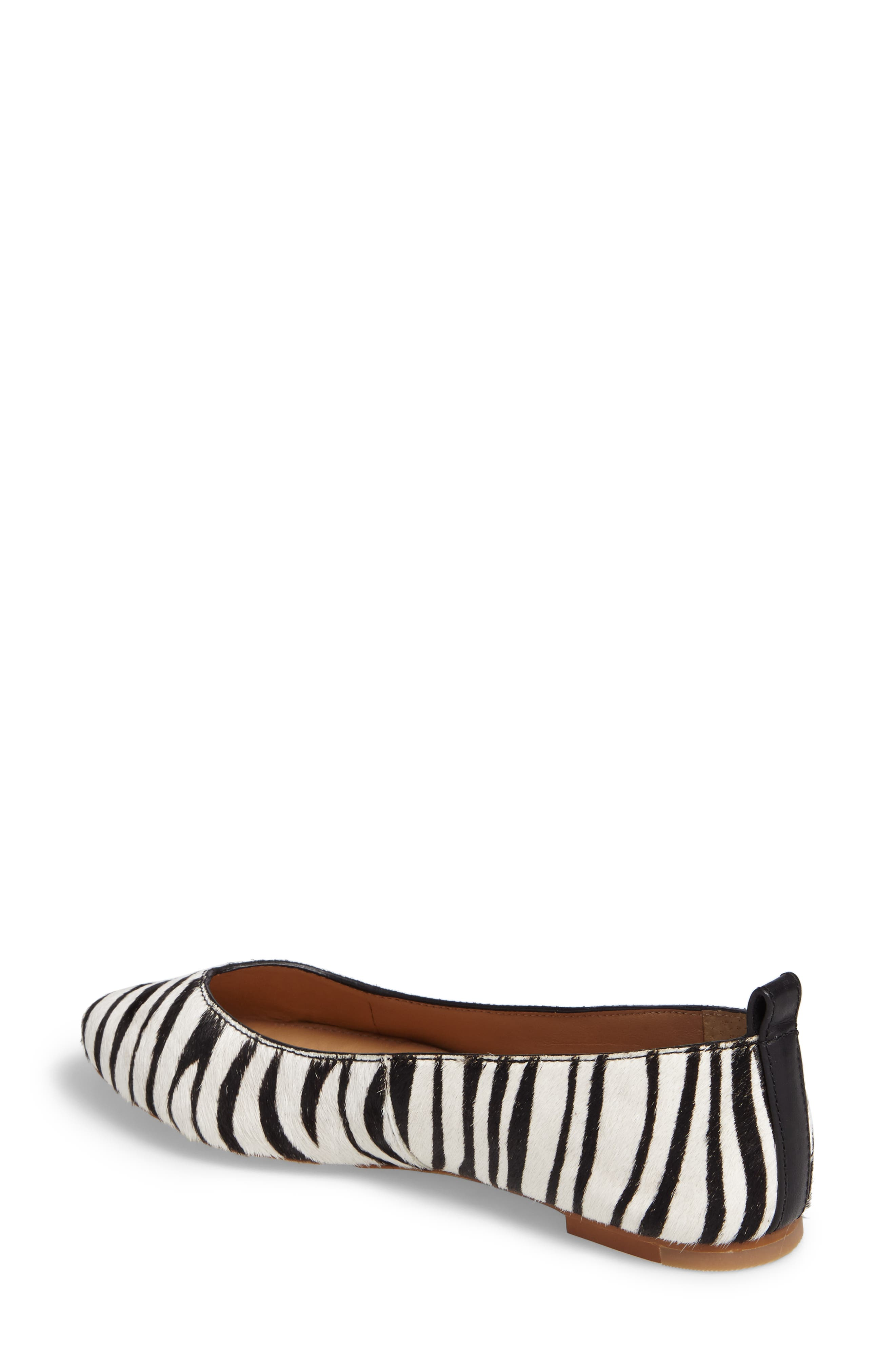 Lynley Genuine Calf Hair Flat,                             Alternate thumbnail 2, color,                             Zebra Calf Hair Leather
