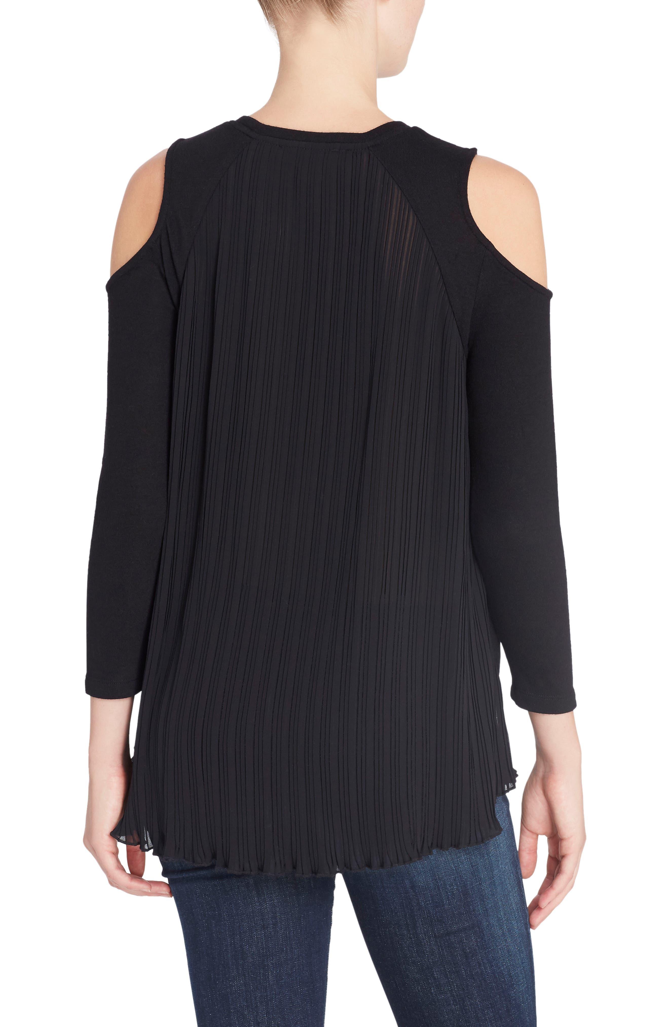 Linda Mixed Media Cold Shoulder Sweater,                             Alternate thumbnail 2, color,                             Black Beauty