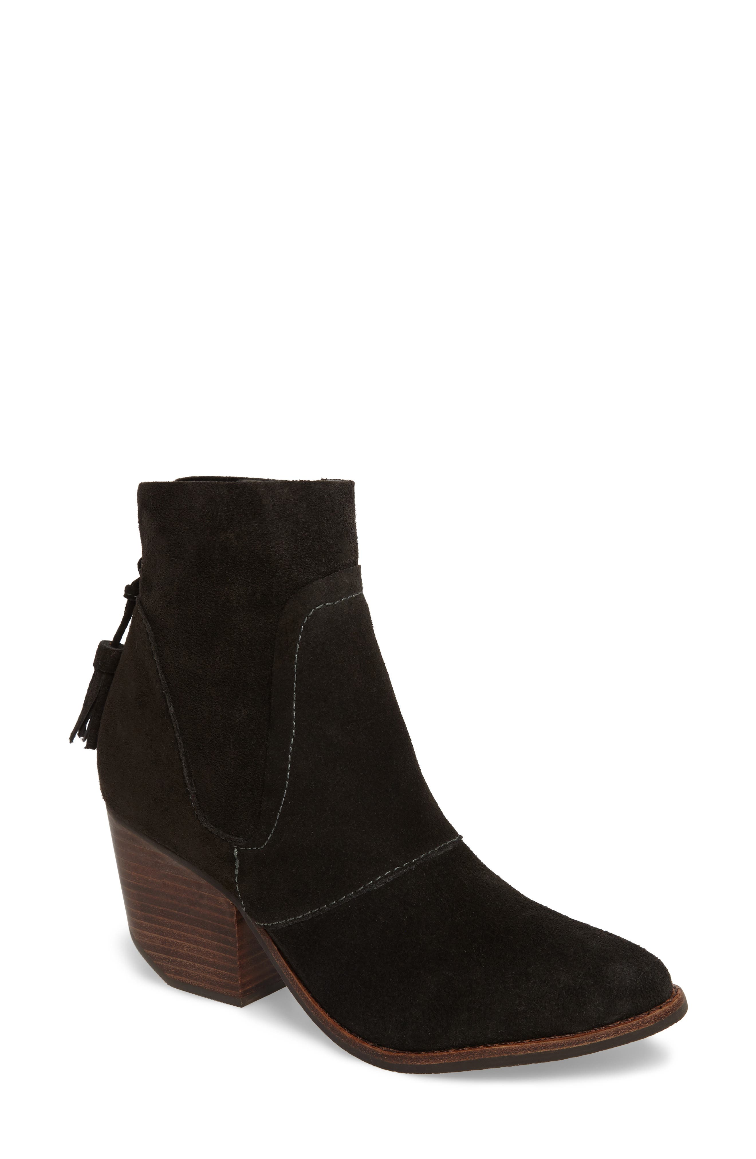 Laney Notched Heel Bootie,                             Main thumbnail 1, color,                             Forest Suede