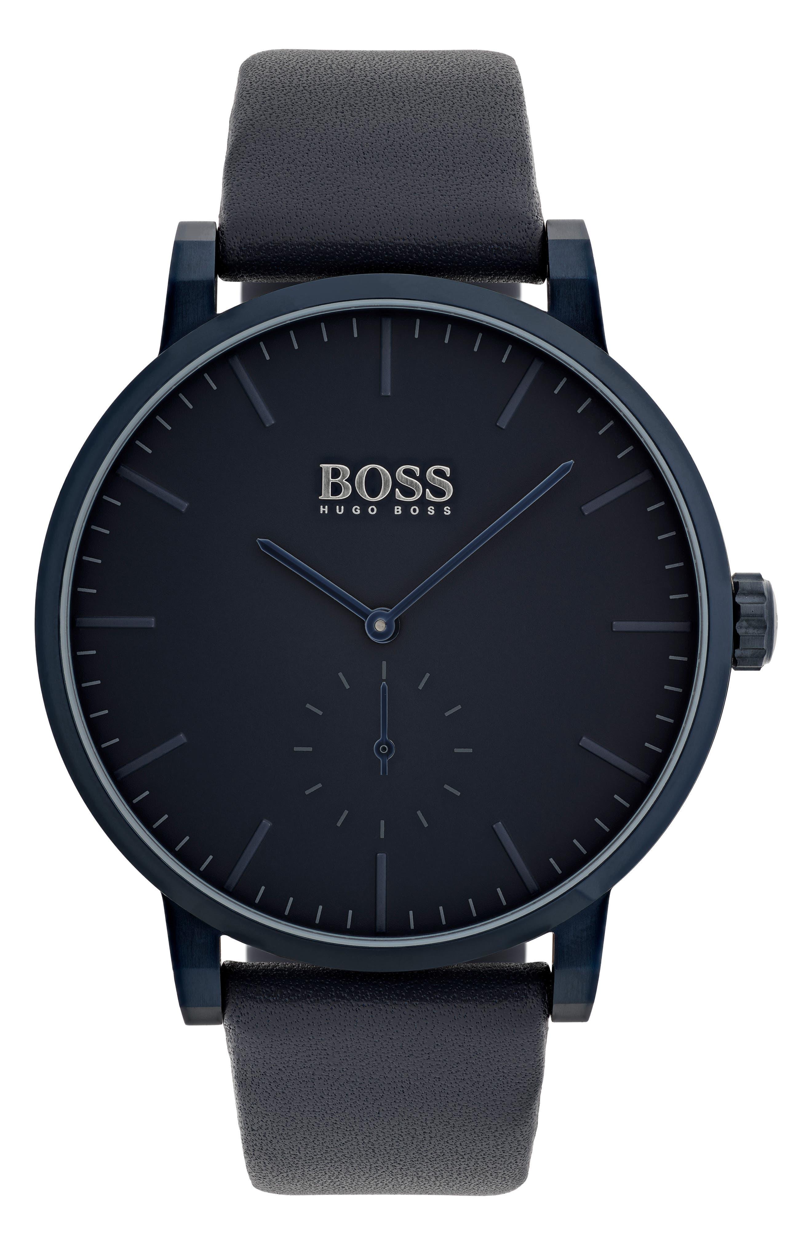 HUGO Essence Leather Strap Watch, 42mm