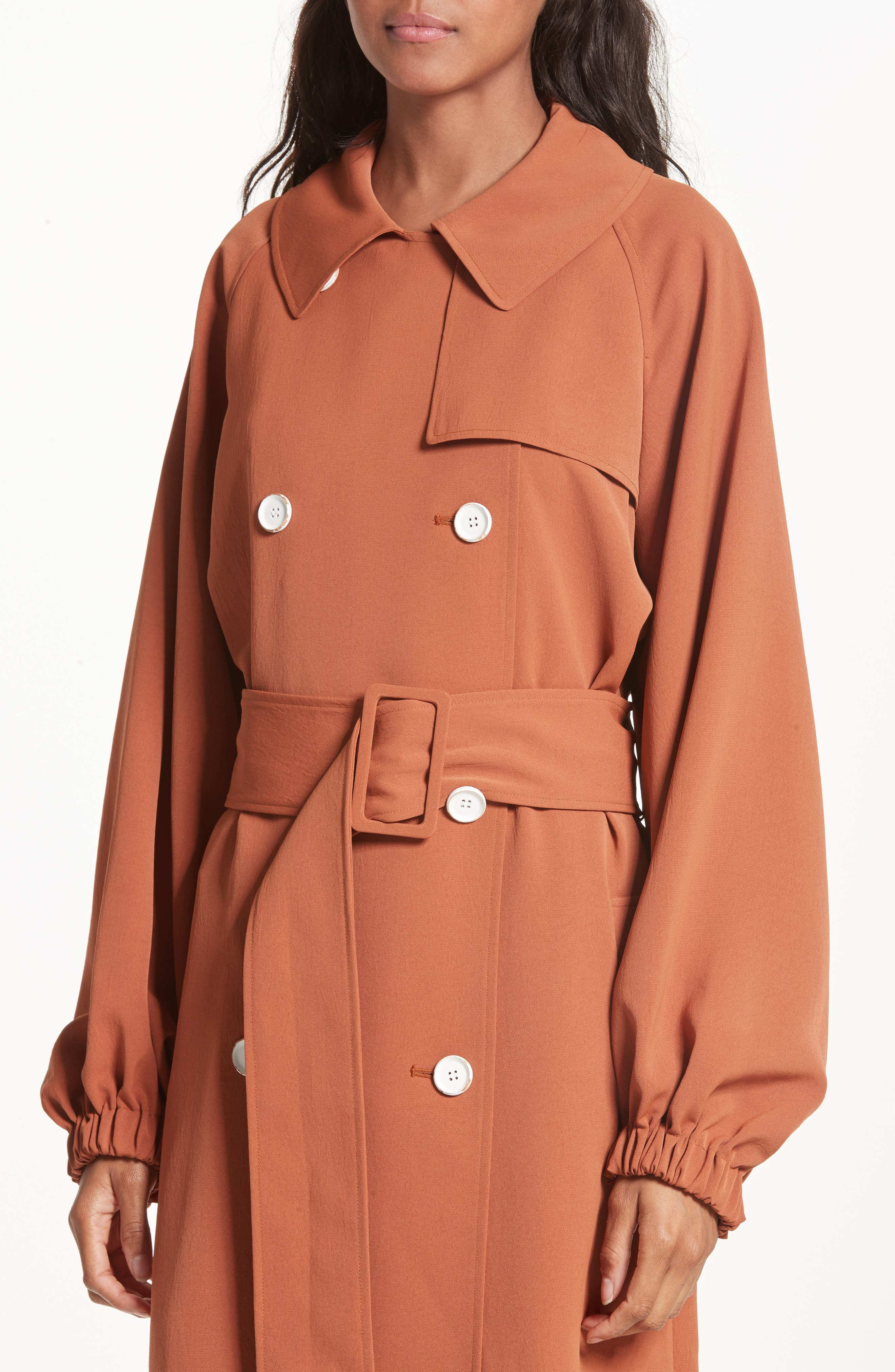 Draped Twill Trench Coat,                             Alternate thumbnail 4, color,                             Rust