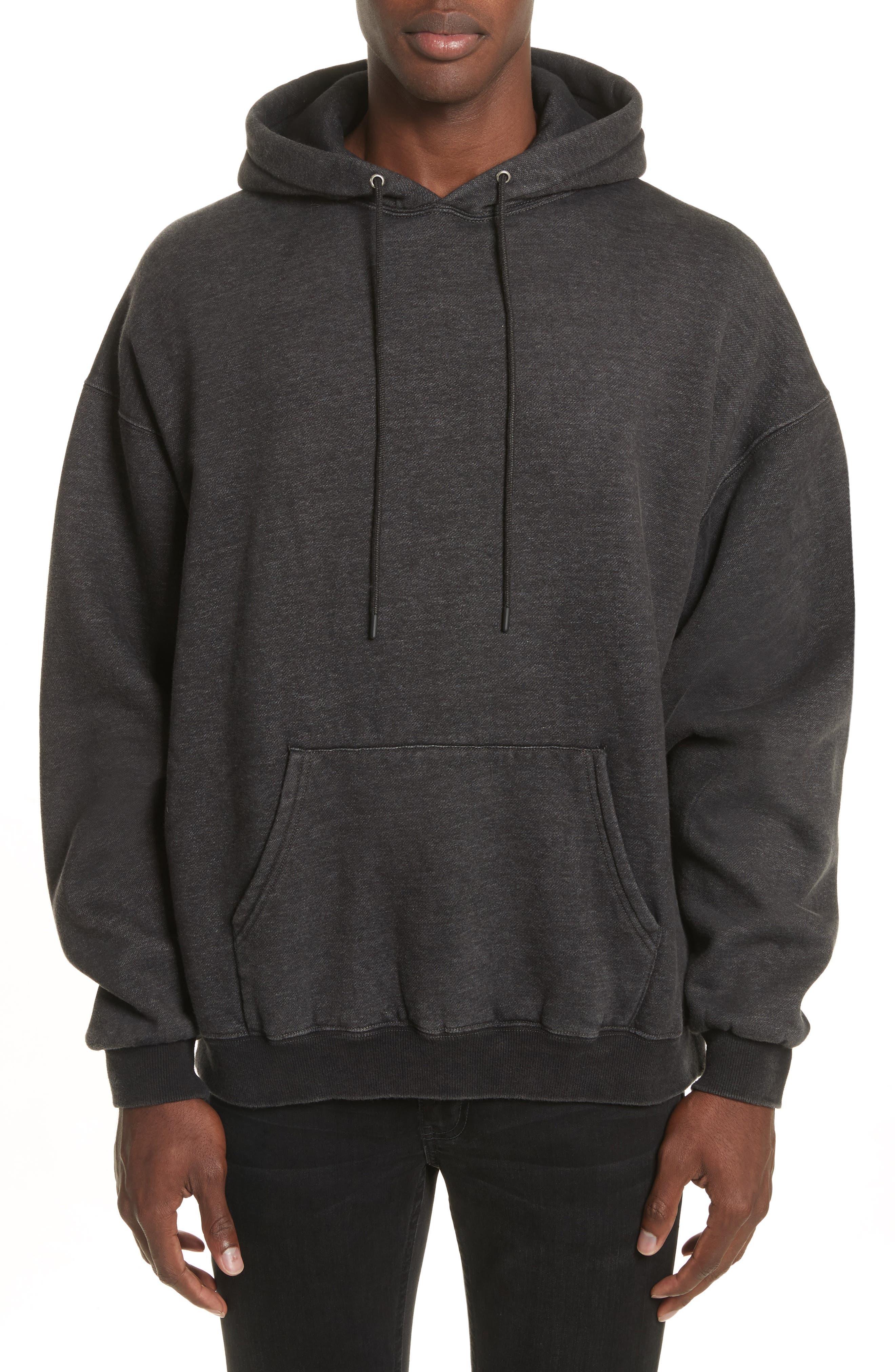 Oversize Pullover Hoodie,                         Main,                         color, Acid Black
